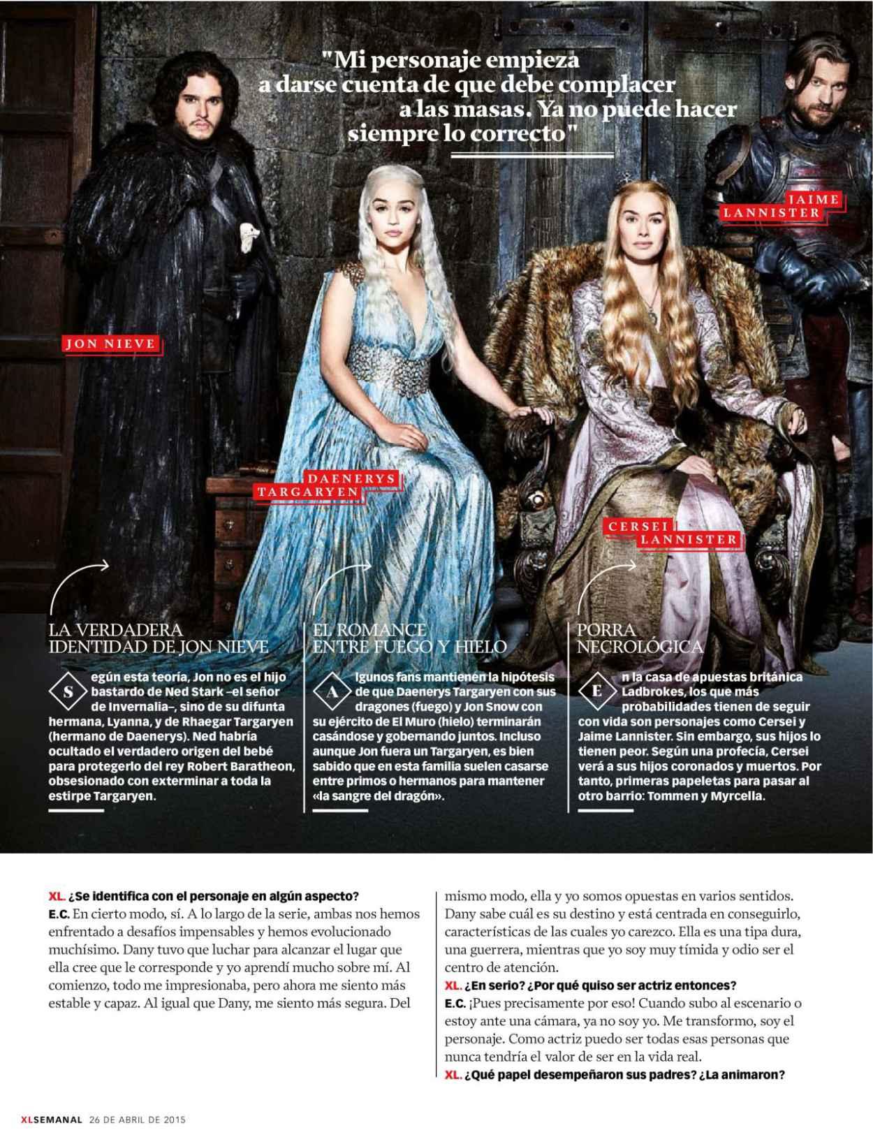 Emilia Clarke - Xl Semanal Magazine April 2015 Issue-4