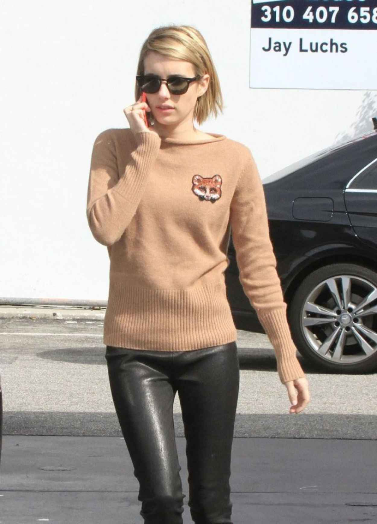 Emma Roberts in Leather Pants - Gets Gas in West Hollywood - March 2015-1