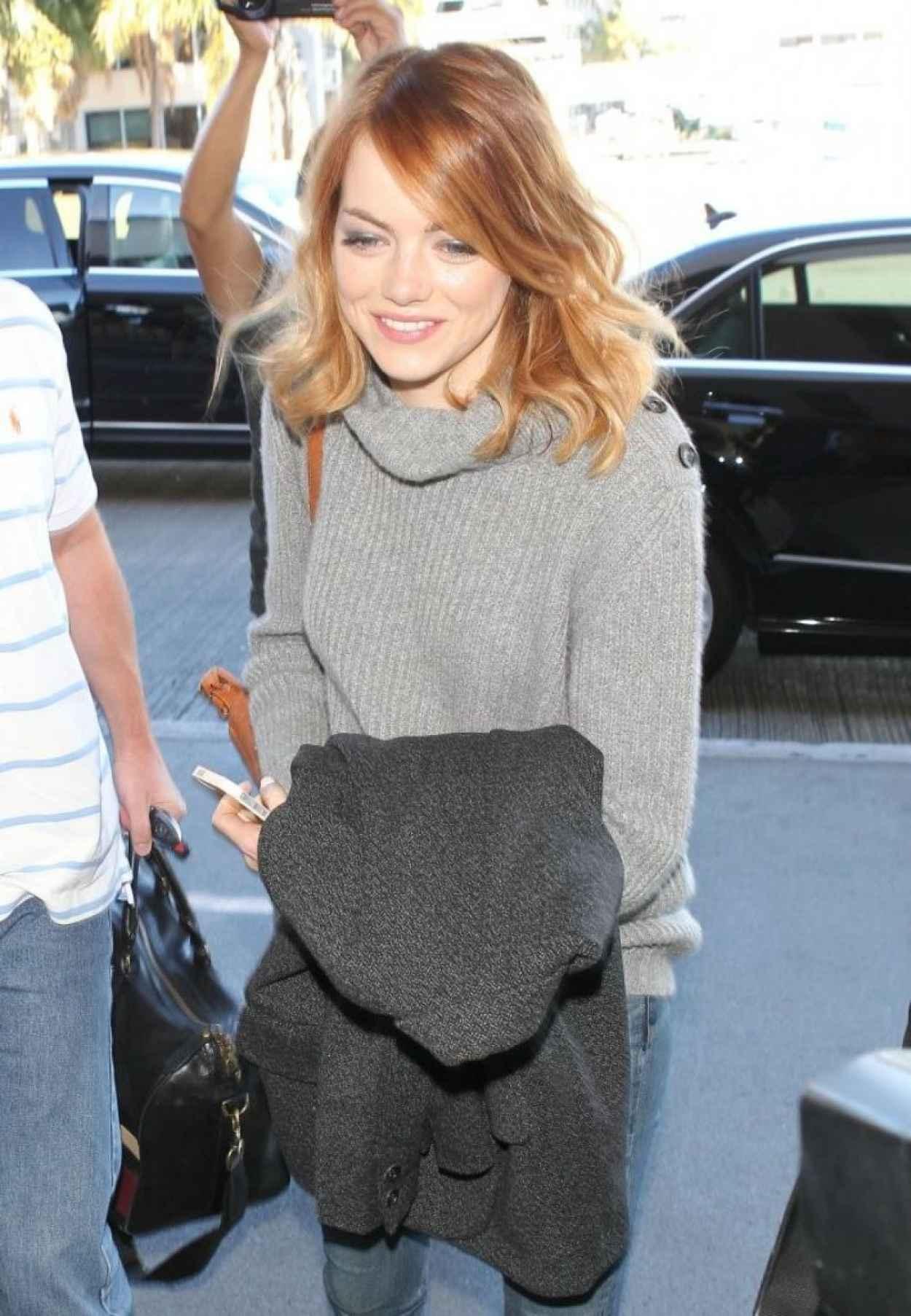 Emma Stone Street Style - LAX Airport, January 2015-1