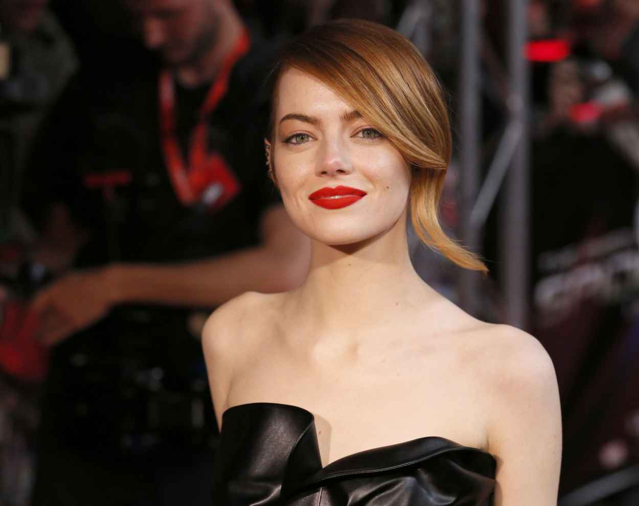 Emma Stone Wearing Lanvin Leather Dress - The Amazing Spider-Man 2 Premiere in Paris-1