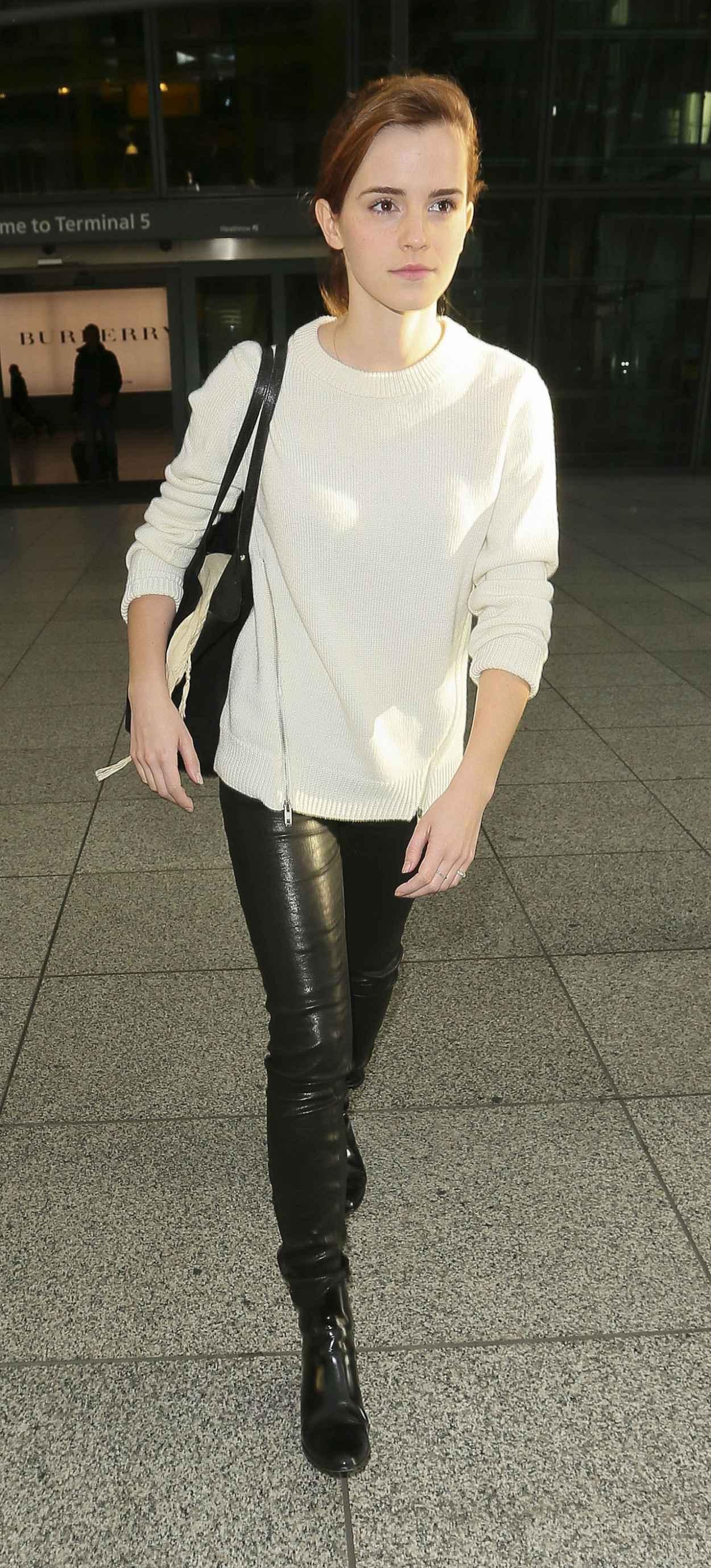Emma Watson Street Style - at Heathrow Airport in London - November 2015-1