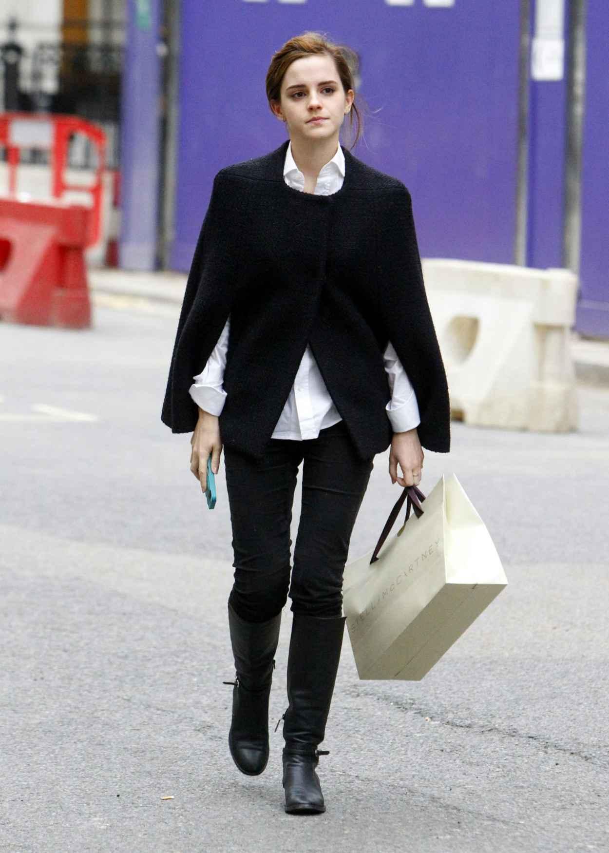 Emma Watson Street Style - Shopping Around Bond Street in Central London - December 2015-1