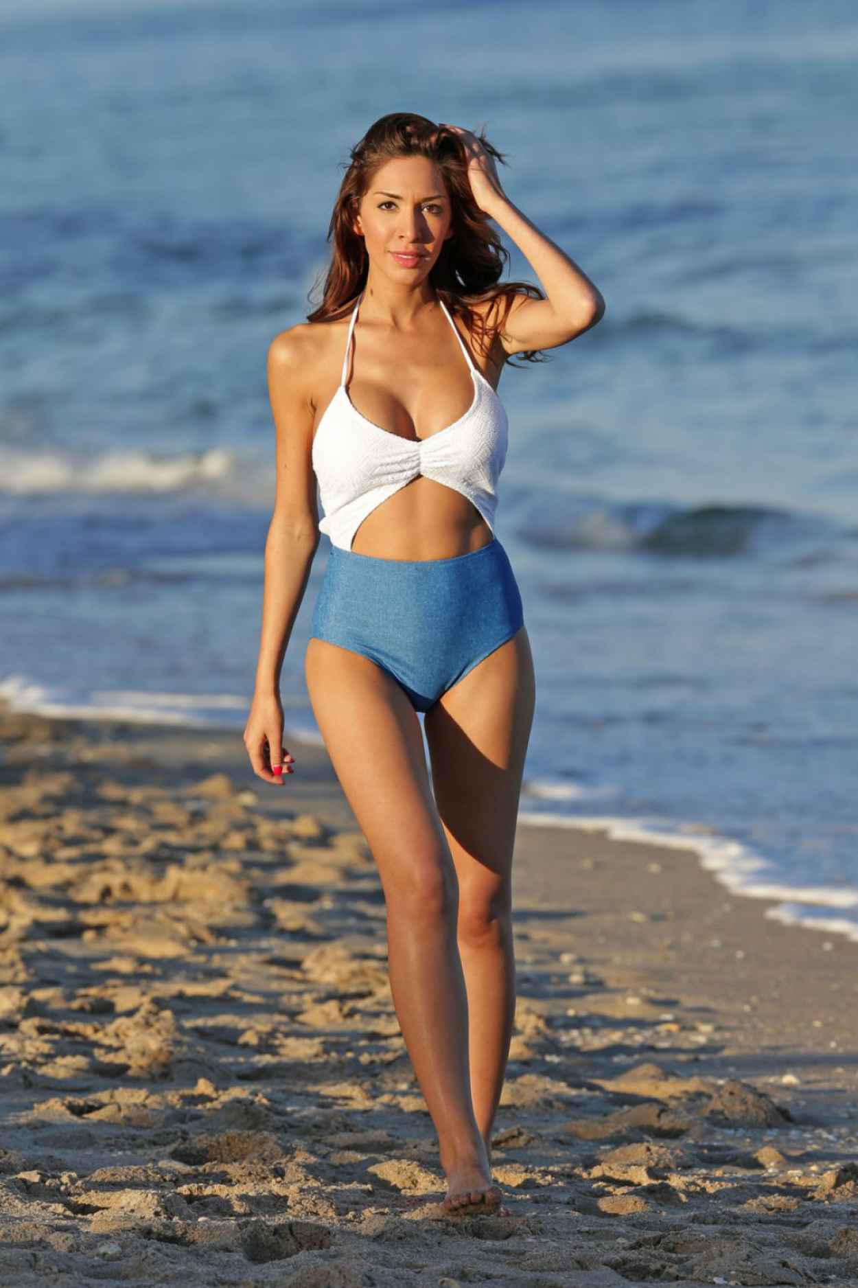 Farrah Abraham In a Swimsuit at The Beach In Miami, January 2015-3