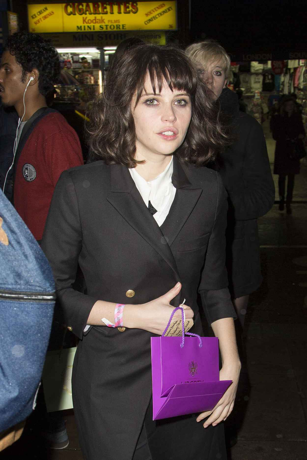 Felicity Jones Night Out Style - Arrives at the Girls UK Premiere After Party, Jan. 2015-1