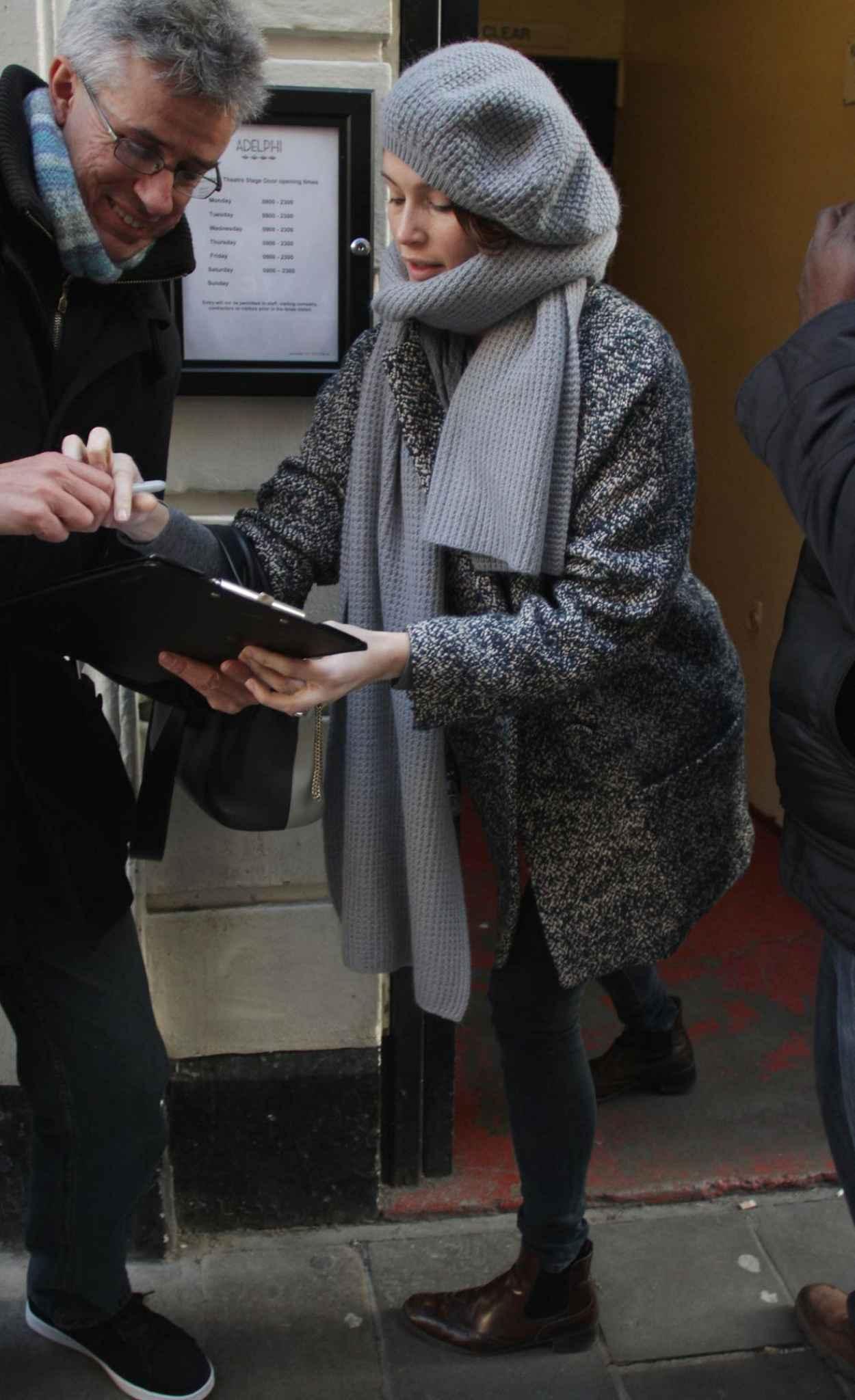 Gemma Arterton Signing Autographs - Adelphi Theatre in London, Dec. 2015-1