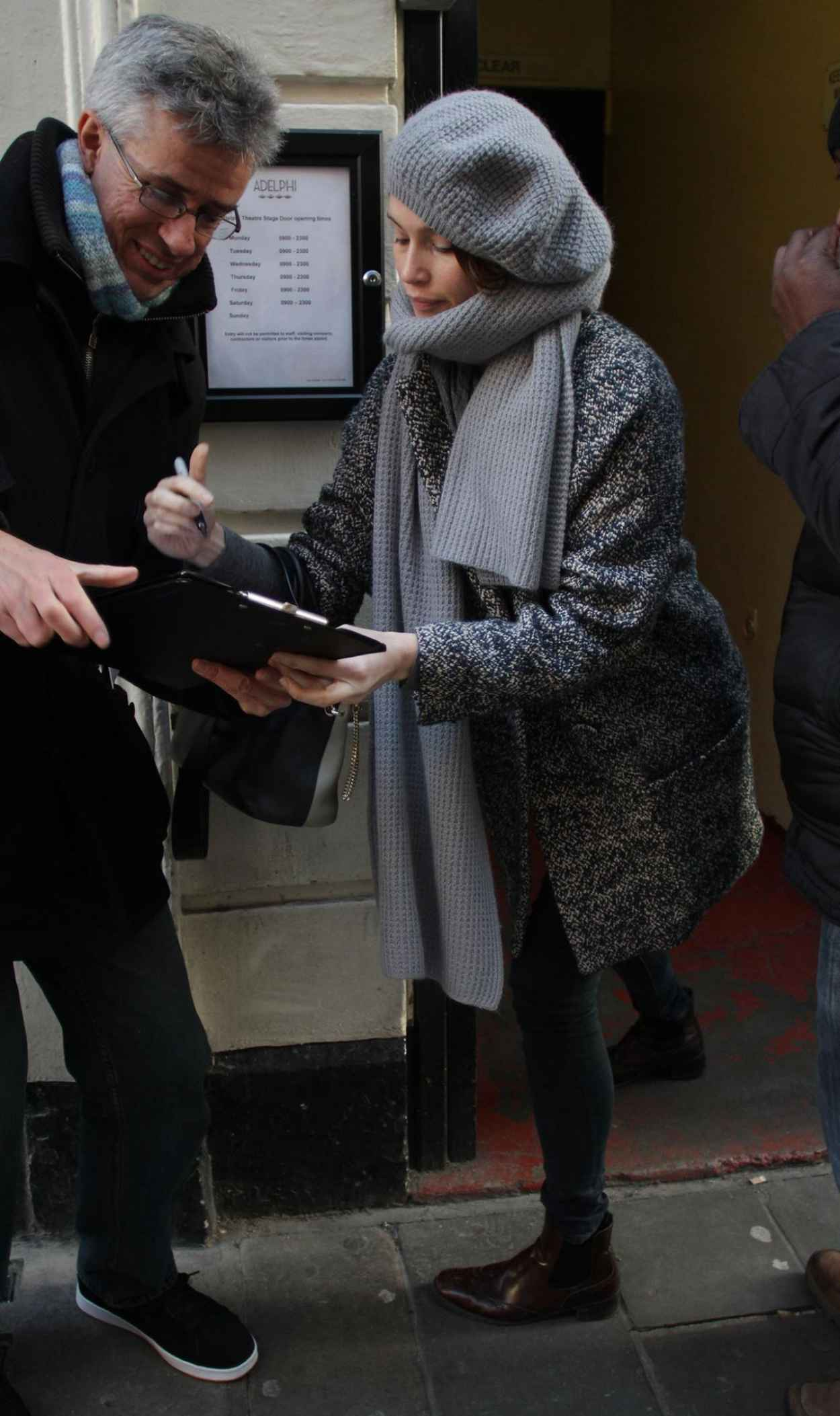 Gemma Arterton Signing Autographs - Adelphi Theatre in London, Dec. 2015-3
