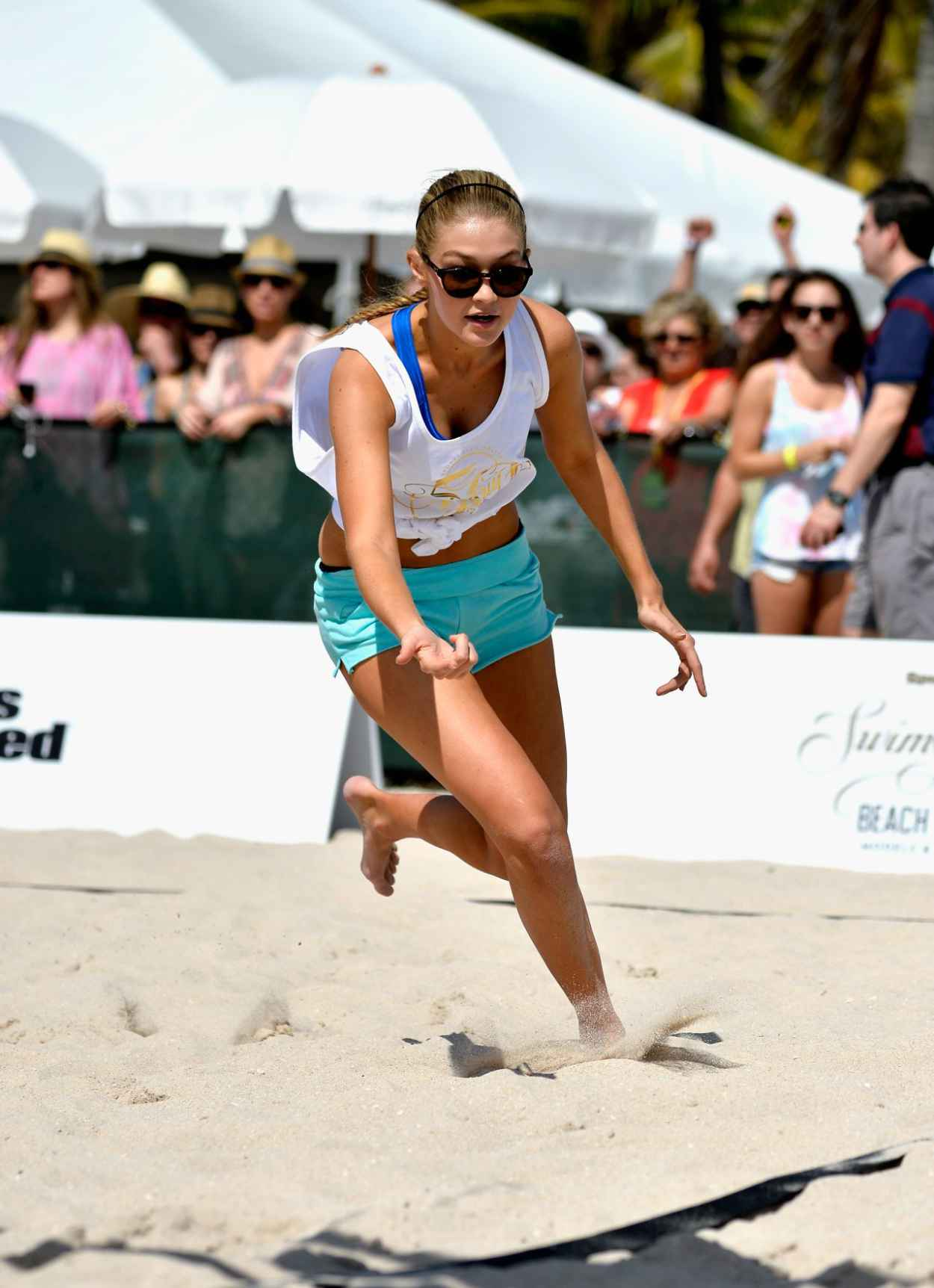 Gigi Hadid - Sports Illustrated Swimsuit Beach Volleyball Tournament in Miami, February 2015-1