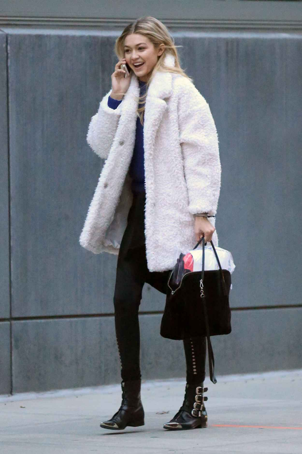 Gigi Hadid Street Style Arrives At Tribeca Photo Studio December 2015