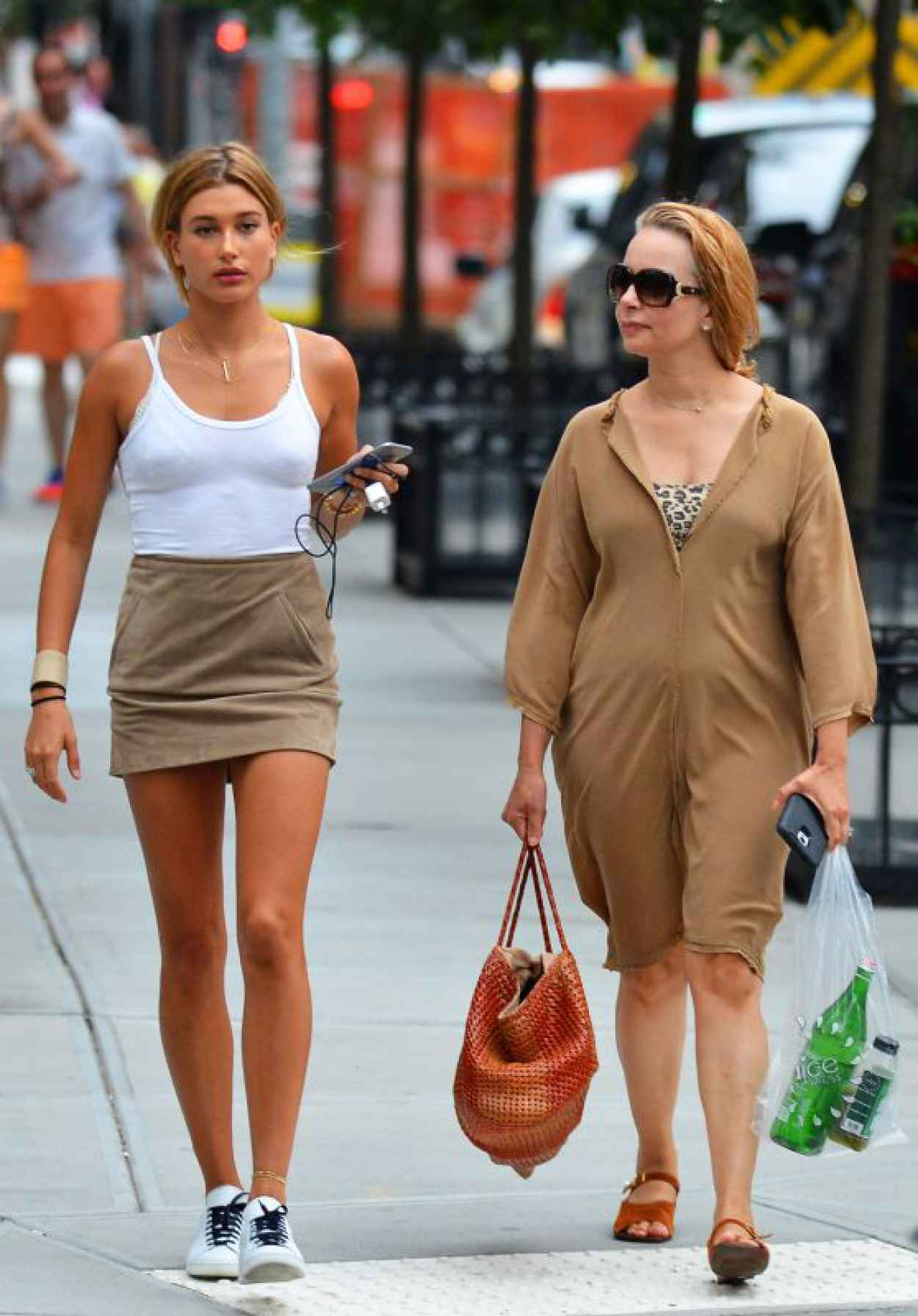 Hailey Baldwin Leggy in Mini Dress - Out in NYC, August 2015-1