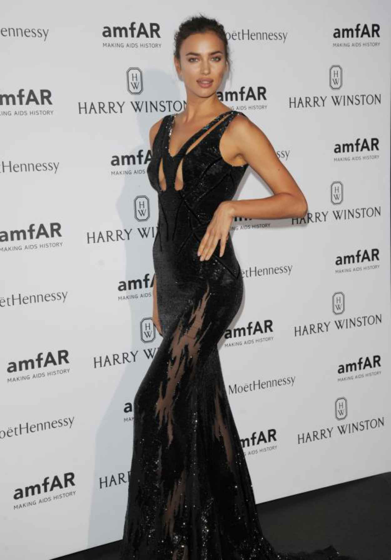 Irina Shayk on Red Carpet - amfAR Dinner in Paris, July 2015-1