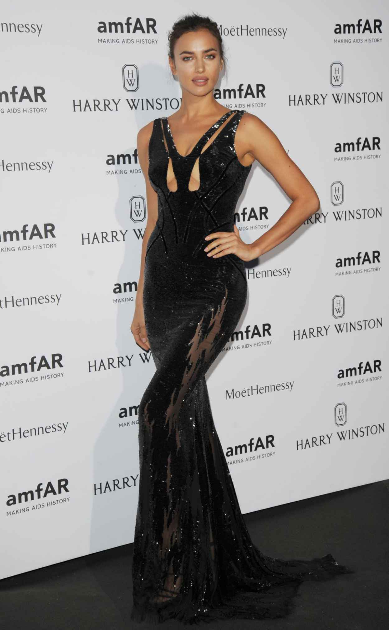 Irina Shayk on Red Carpet - amfAR Dinner in Paris, July 2015-2