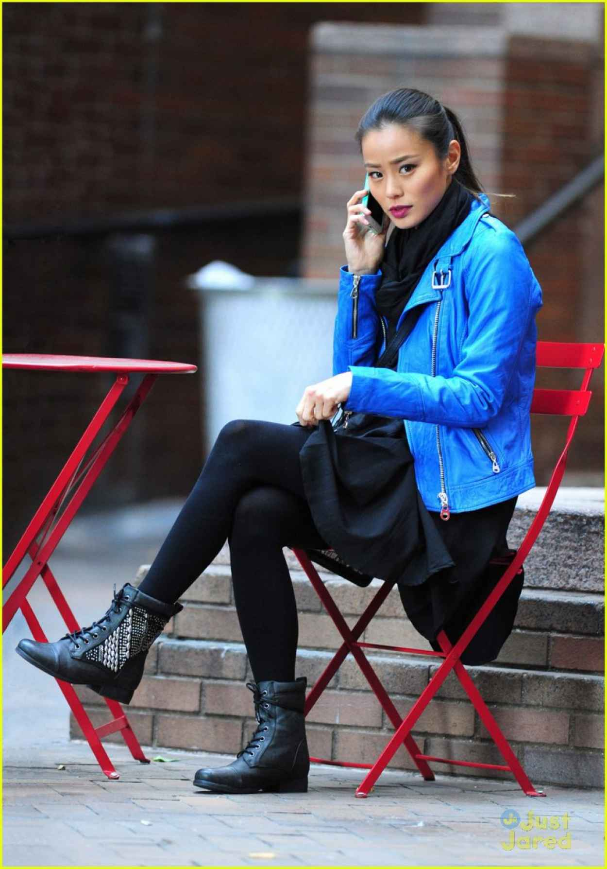 Jamie Chung Street Style - Candy in a Blue Jacket Out in New York City - November 2015-1