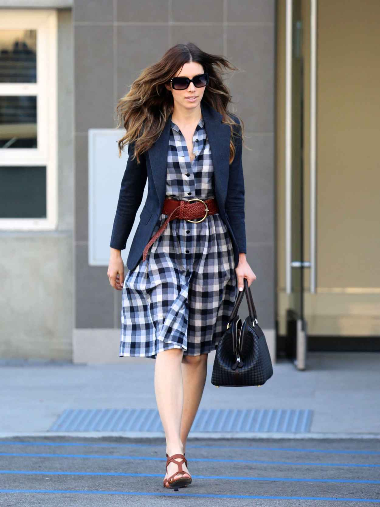 Jessica Biel in Belted Plaid Dress - Out and About in Santa Monica-1