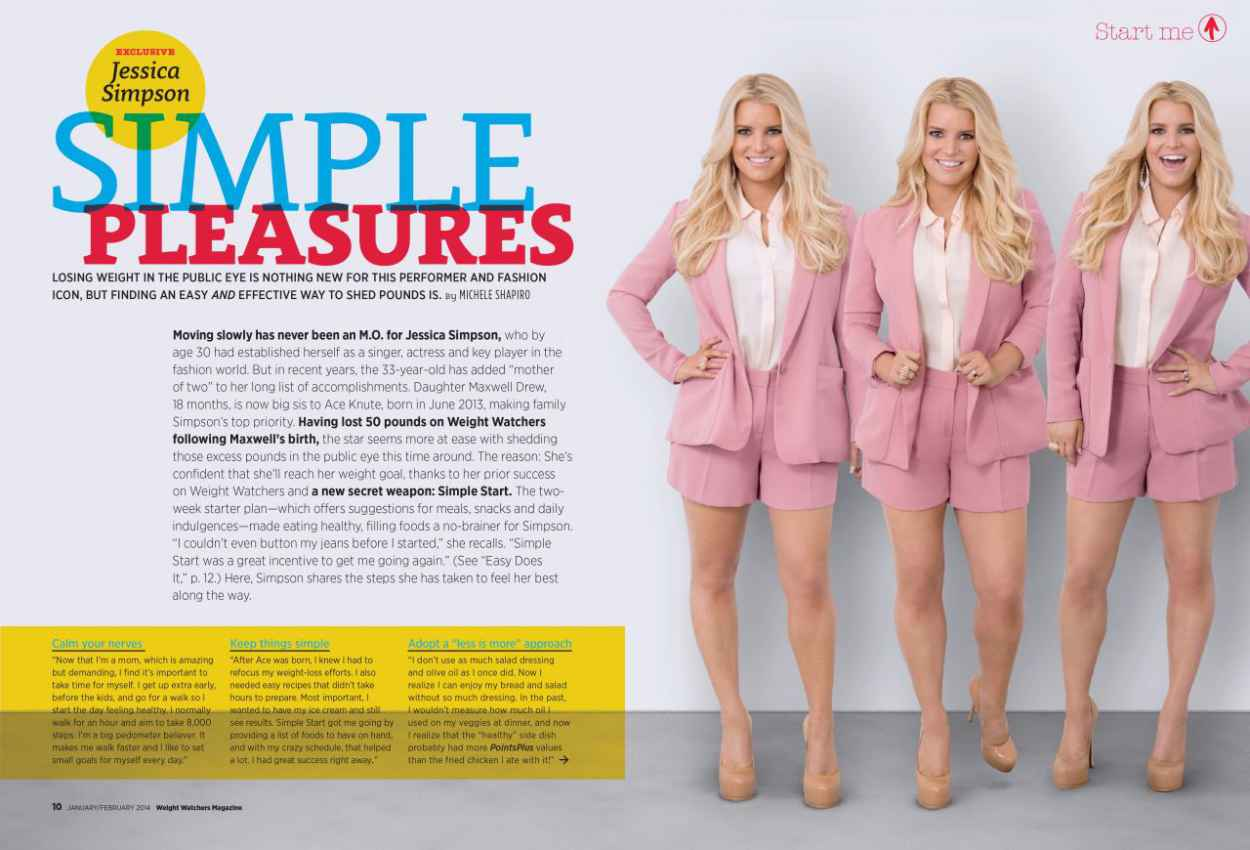 jessica simpson weight watchers magazine usa january february 2015 issue. Black Bedroom Furniture Sets. Home Design Ideas