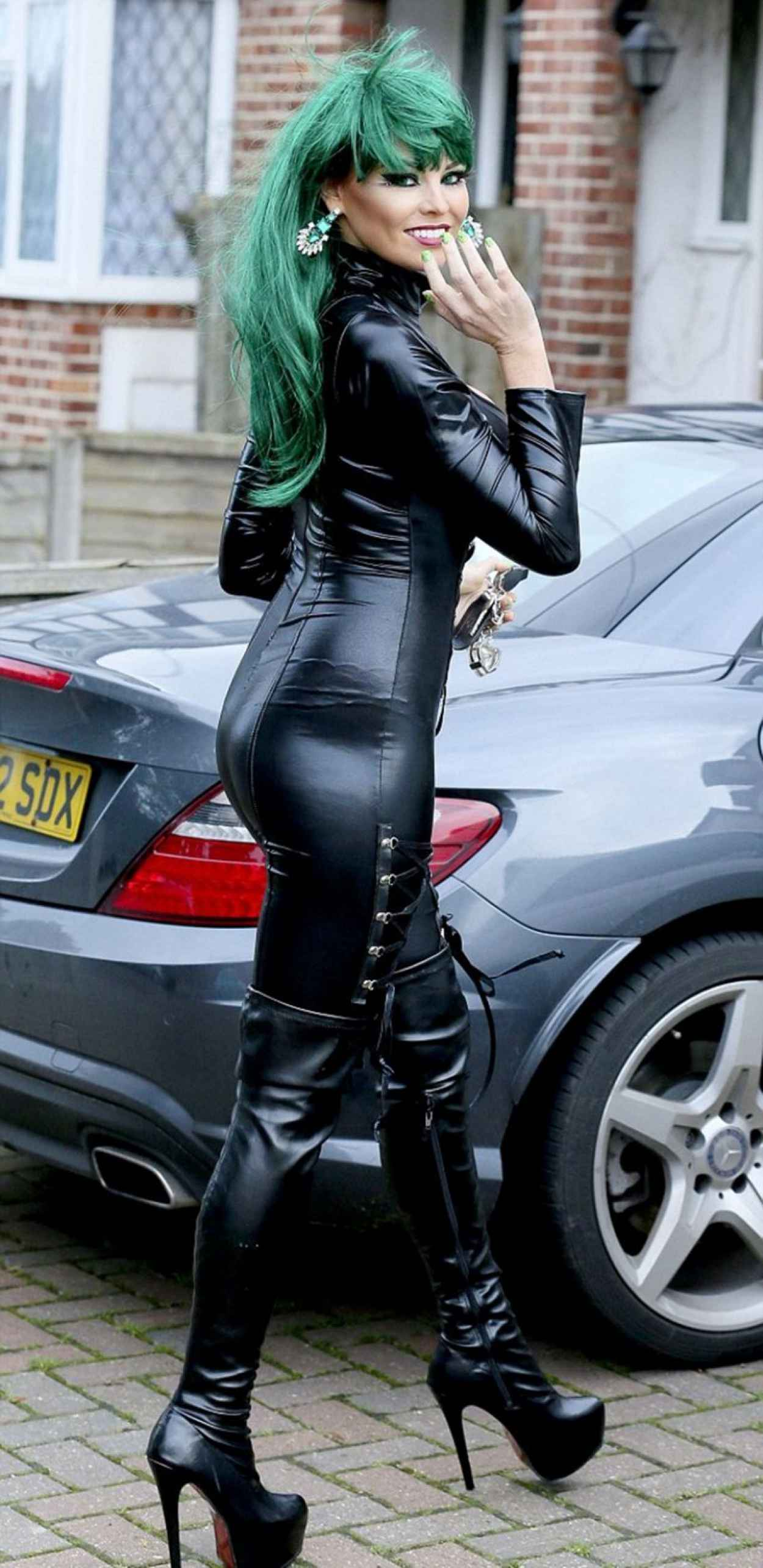 Jessica Wright in Skin Tight Catsuit Outside Her Home in Essex-1