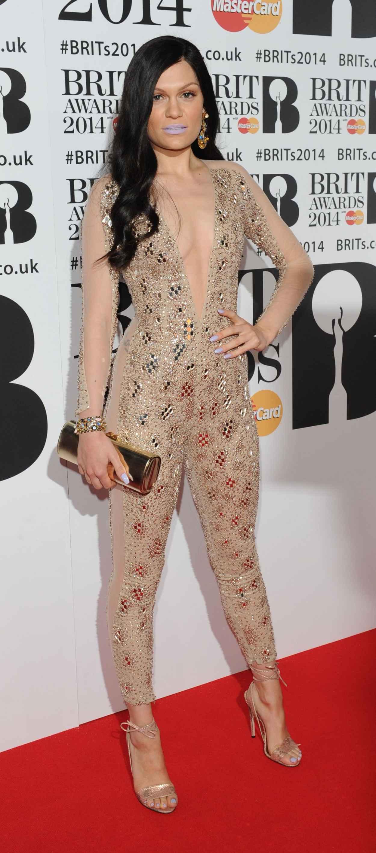 Jessie J Wearing Julien Macdonald Skintight Embellish Bodysuit at BRIT Awards 2015-1
