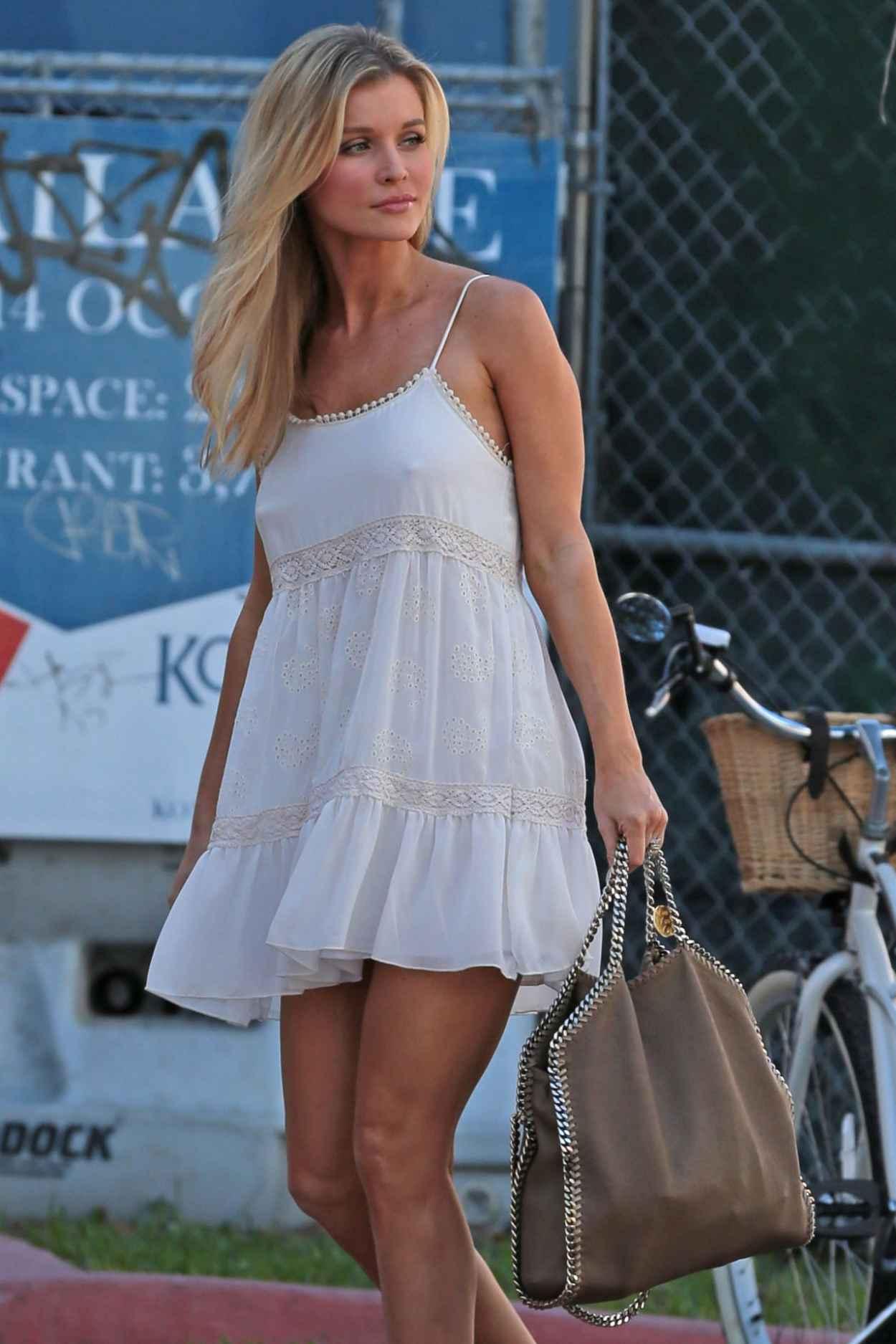 Joanna Krupa - in White Mini Dress Out in Miami, February 2015-1
