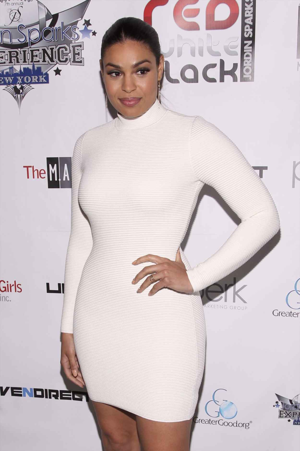 Jordin Sparks in White Dress at Welcome to New York Red, White and Black Super Bowl Party in New York-1