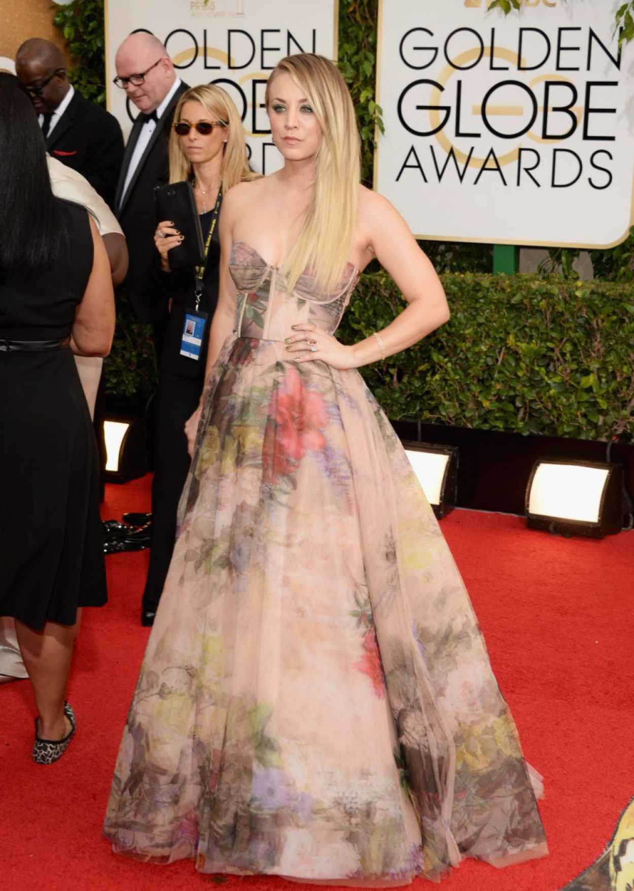 Kaley Cuoco Wearing Rani Zakhem at 71st Annual Golden Globe Awards in Beverly Hills-1