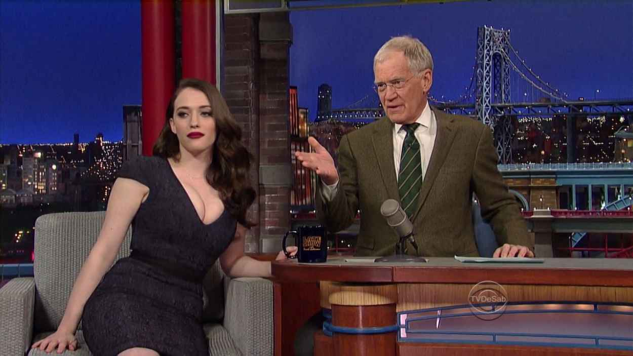Kat Dennings - Late Show with David Letterman in New York (Screencaps)-1