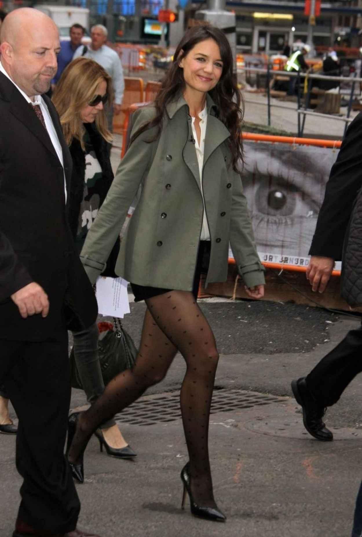 Katie Holmes Legs, ABC Studios in New York City-1