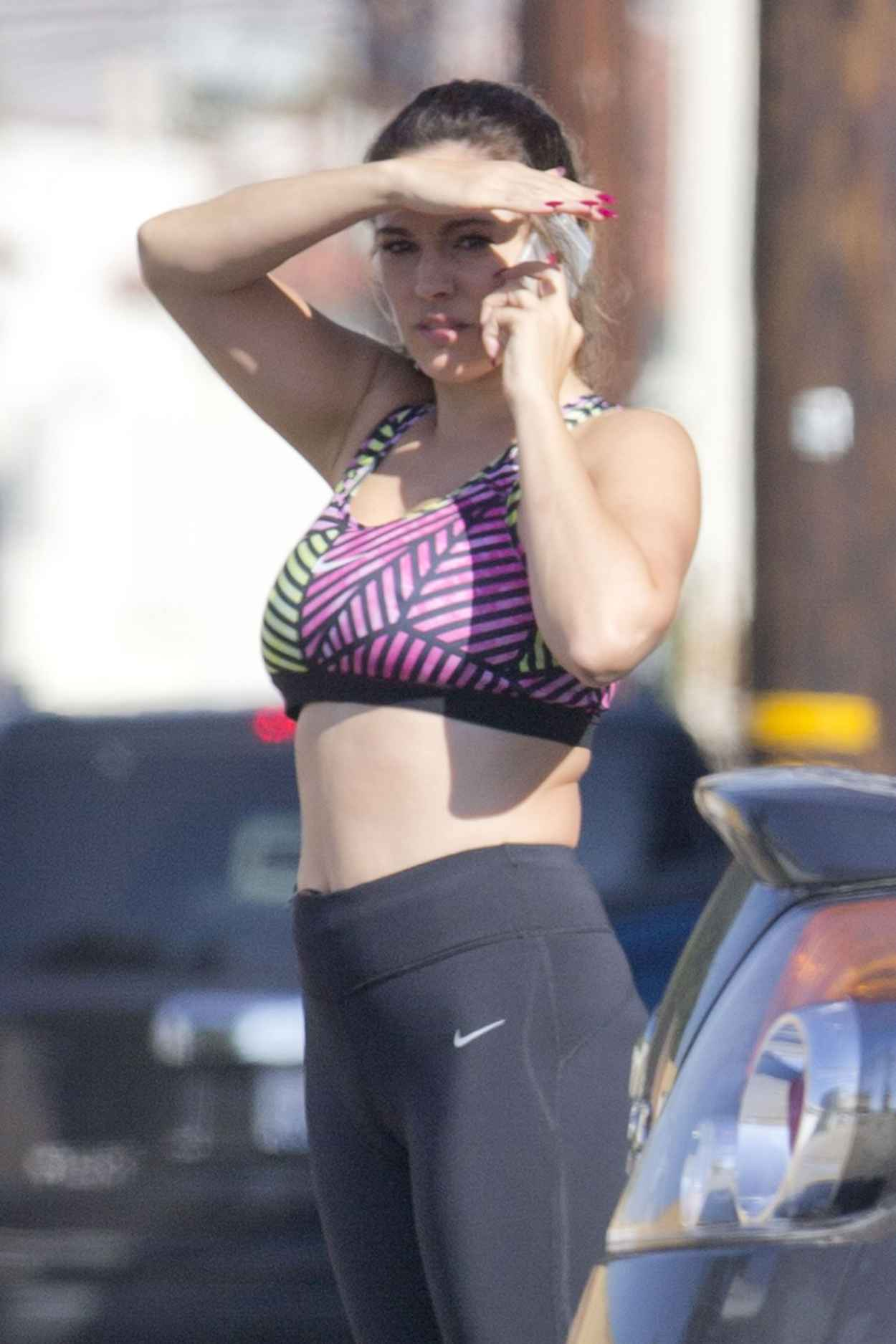Kelly Brook in Skin Tight Vest and Leggings – Out in Los Angeles ...