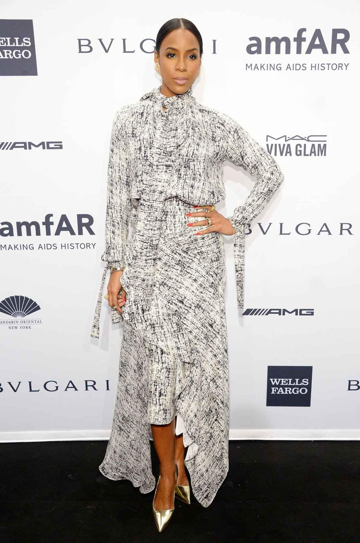 Kelly Rowland Wearing Juan Carlos Obando Dress at 2015 amfAR New York Gala New York City-2