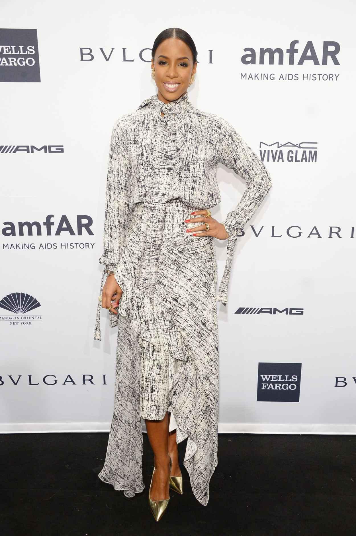 Kelly Rowland Wearing Juan Carlos Obando Dress at 2015 amfAR New York Gala New York City-3