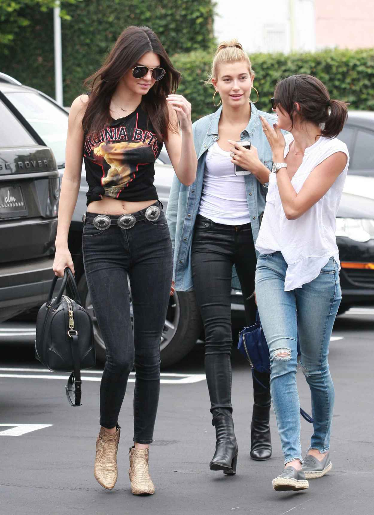 Kendall Jenner And Hailey Baldwin Casual Style At Fred Segal In West Hollywood July 2015