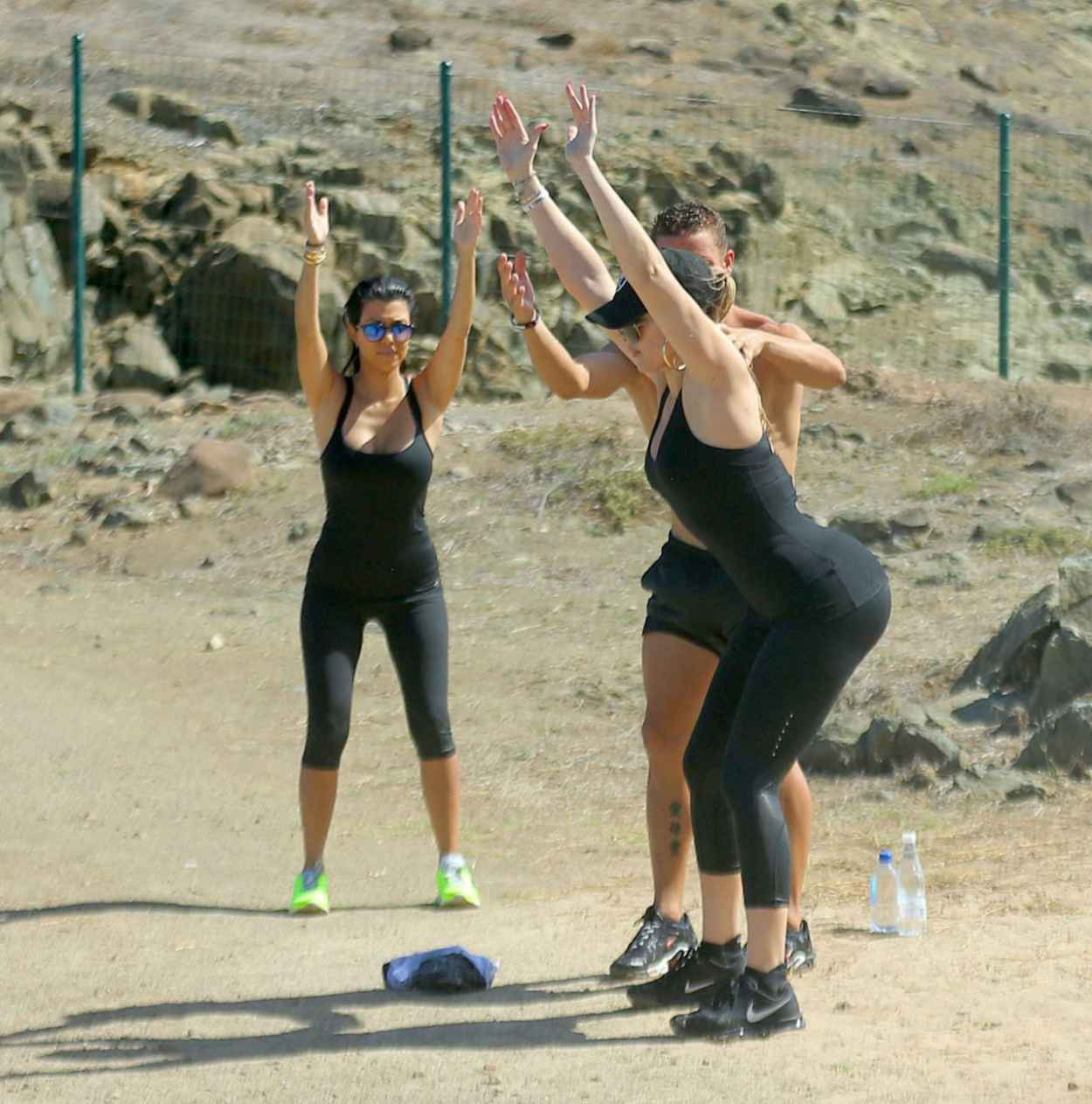 Khloe, Kourtney & Kim Kardashian - Workout in St. Barts, August 2015-5