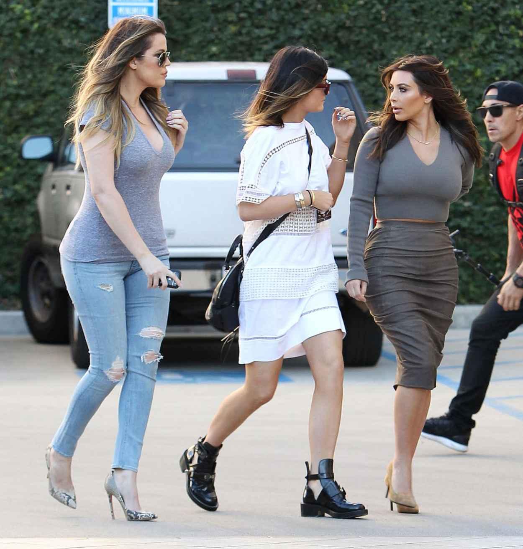 Kim Kardashian, Khloe Kardashian and Kylie Jenner - Arriving at Naimies Beauty Center in Los Angeles, Feb. 2015-1