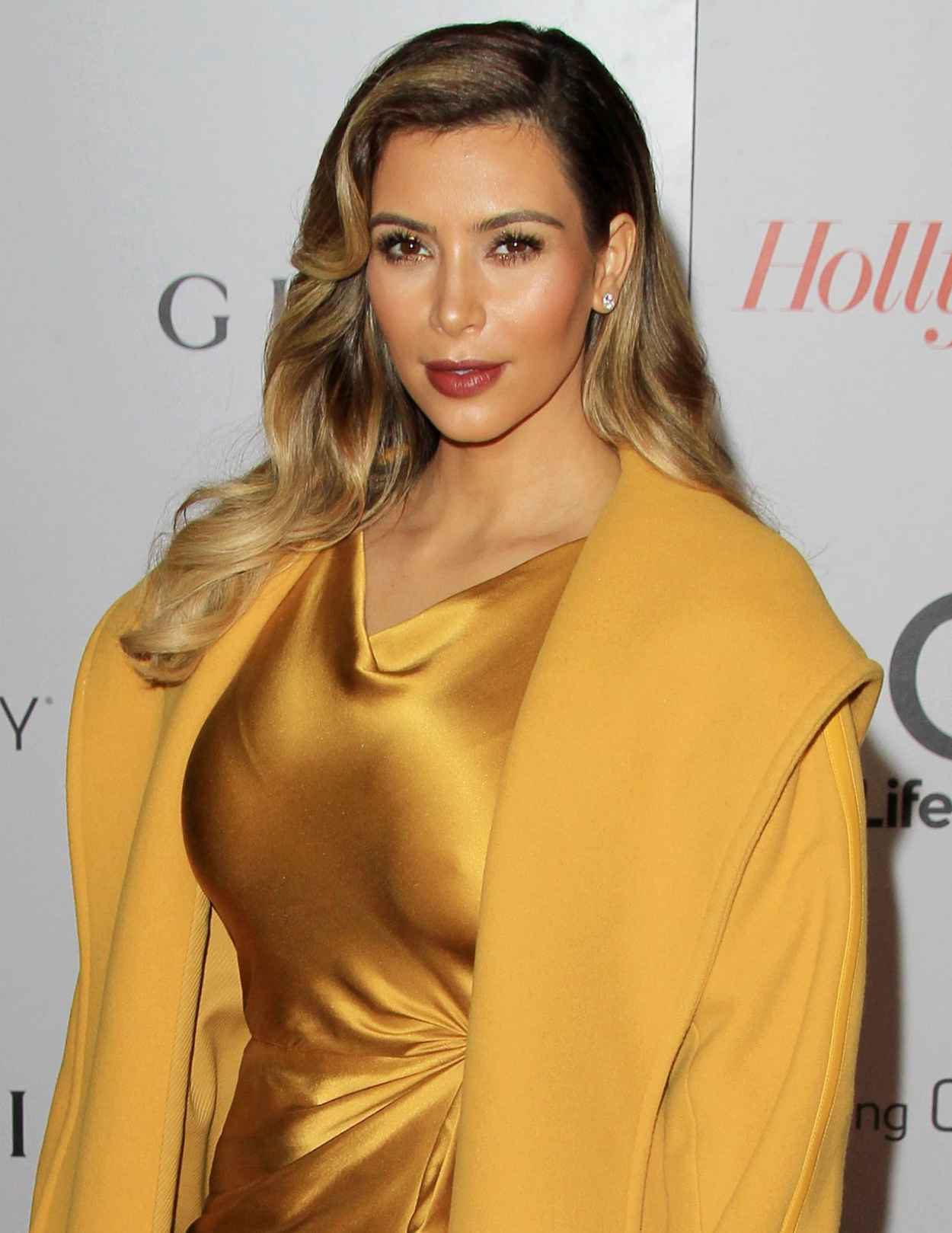 Kim Kardashian Lights Up The Red Carpet In Yellow - THRs 22nd Women in Entertainment Breakfast in Beverly Hills - Dec. 2015-1