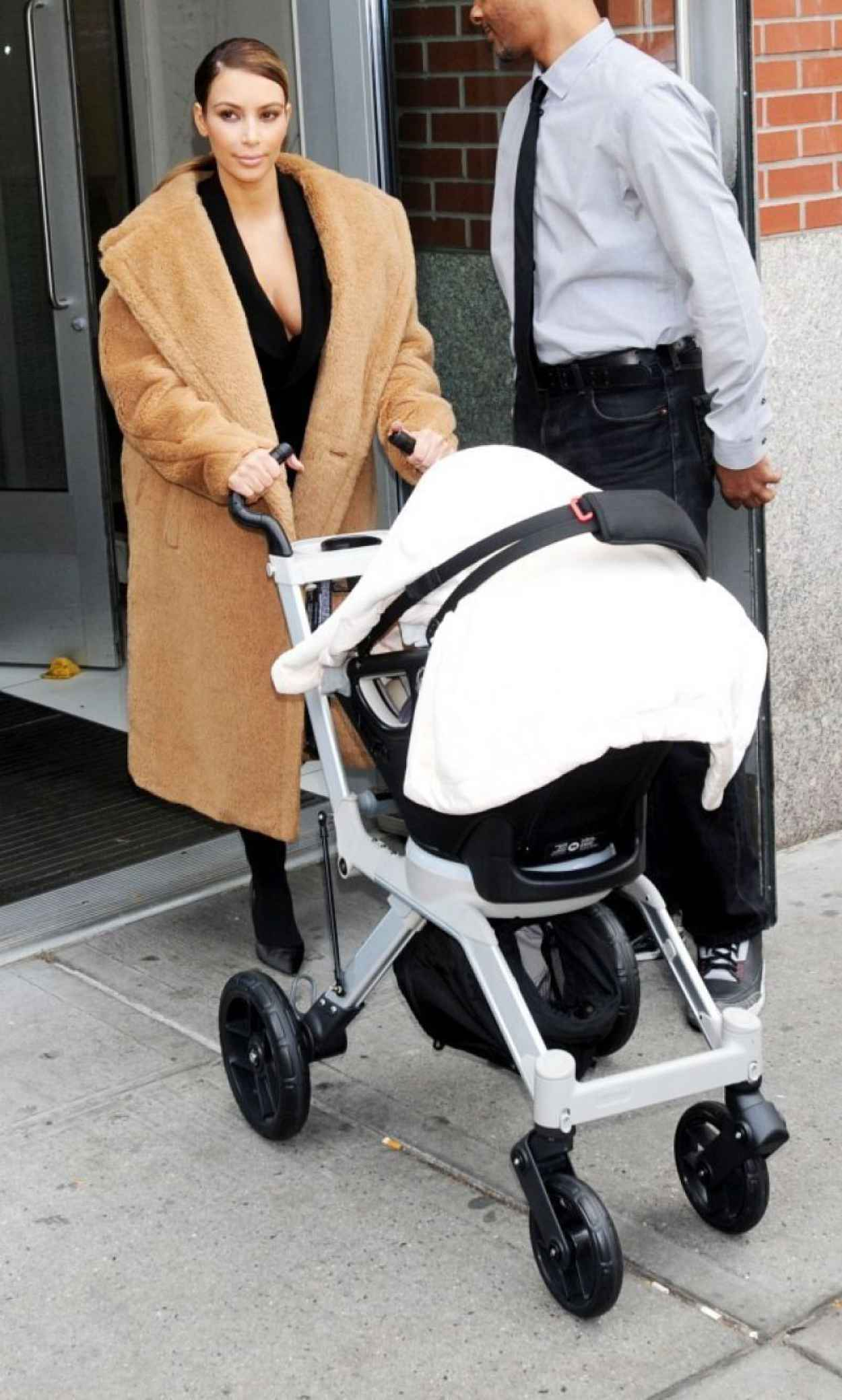 Kim Kardashian Street Style - Takes Baby For A Stroll - Out in New York City-1