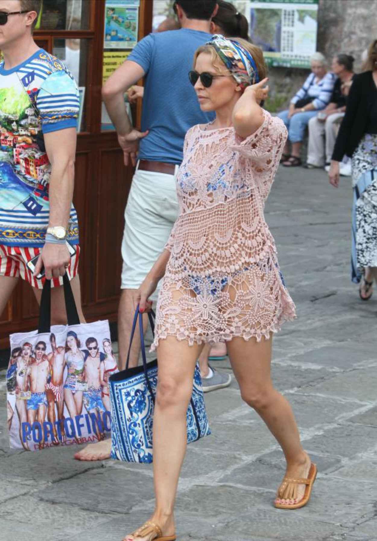 Kylie Minogue - Bikini Under Coverup - Portofino, Italy, July 2015-1