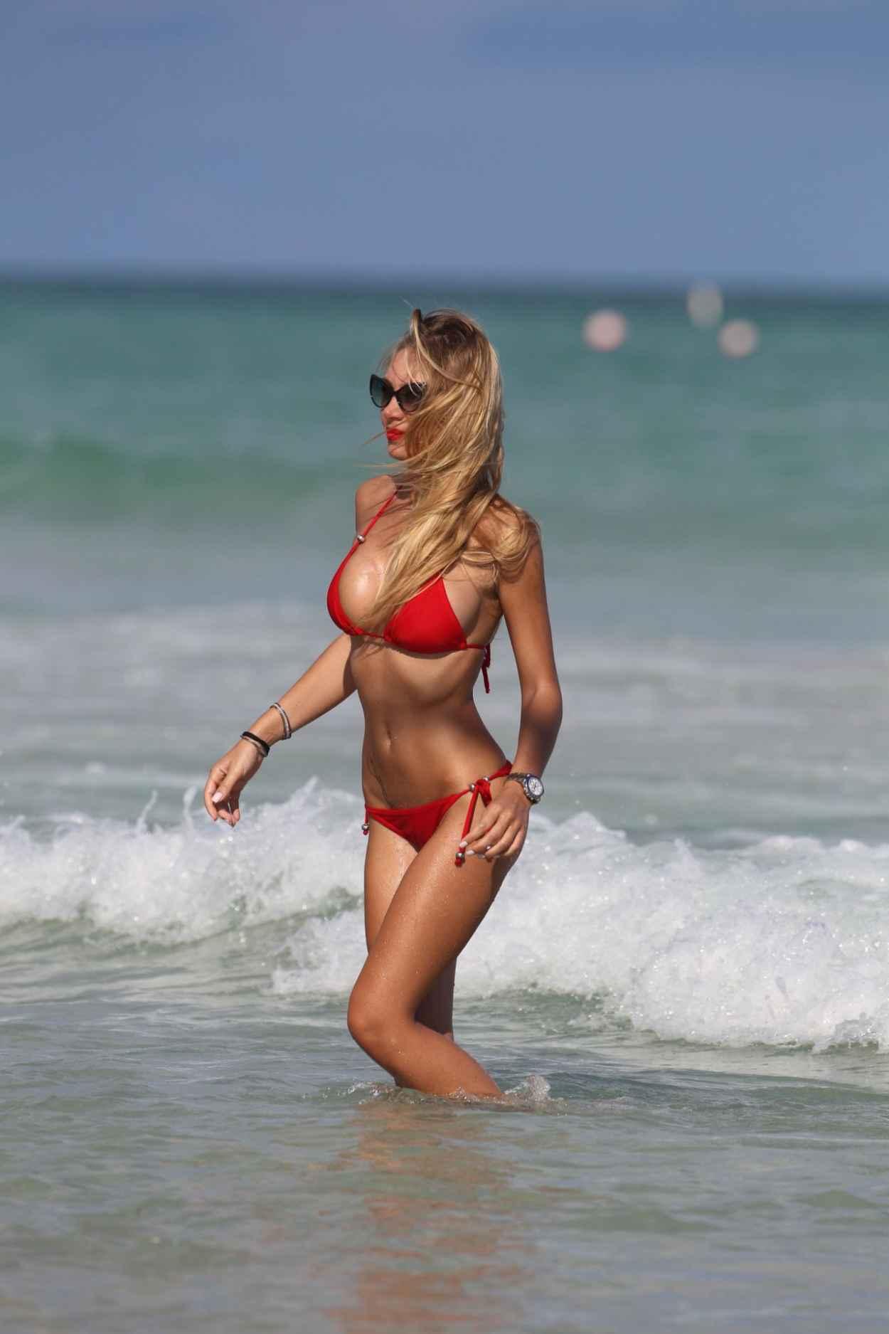 Laura Cremaschi in a Red Triangle Top Bikini - Miami Beach November 2015-1