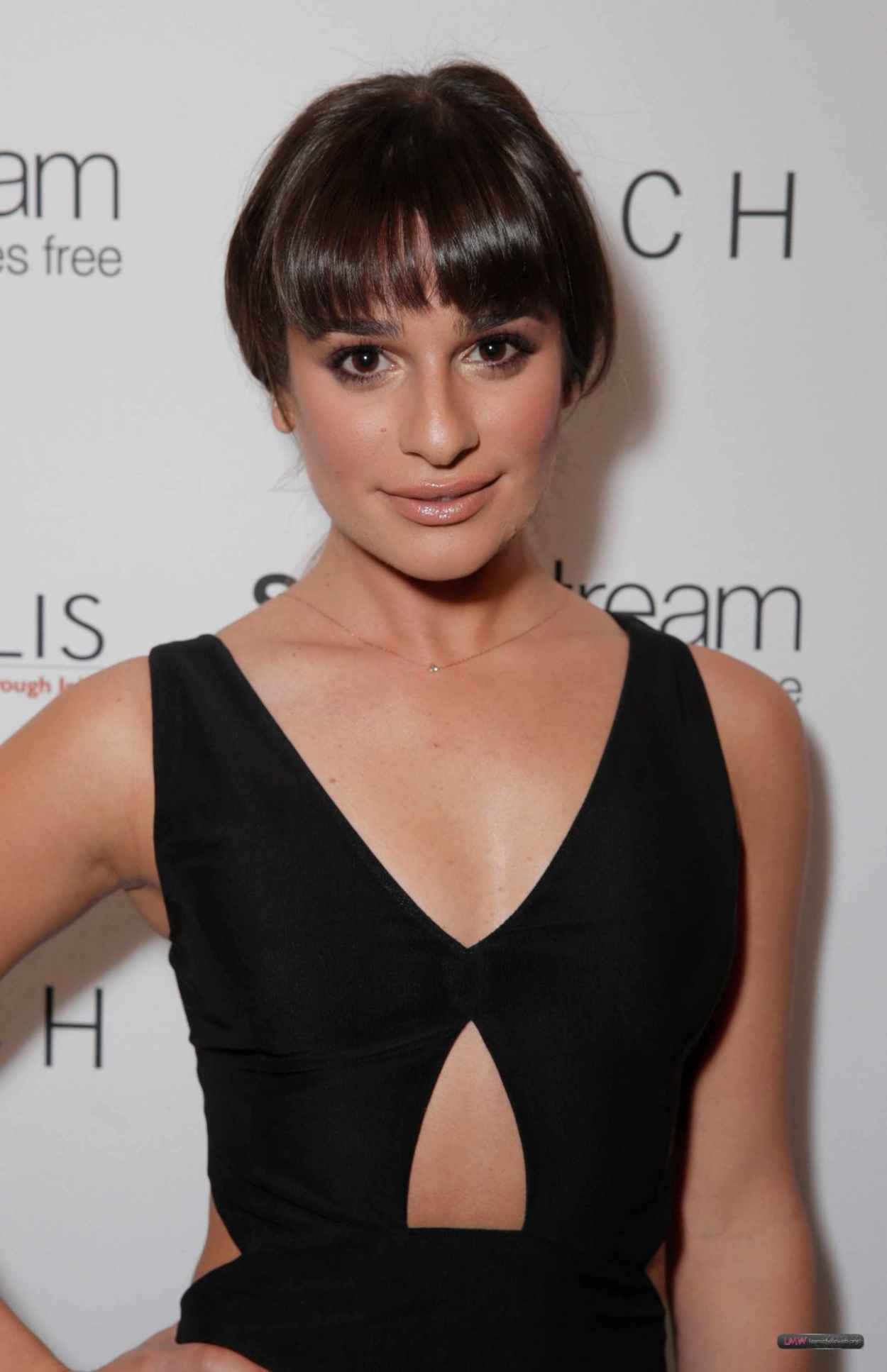 Lea Michele in a Flesh-Baring Black Frock at Switch Boutique - Los Angeles December 2015-1
