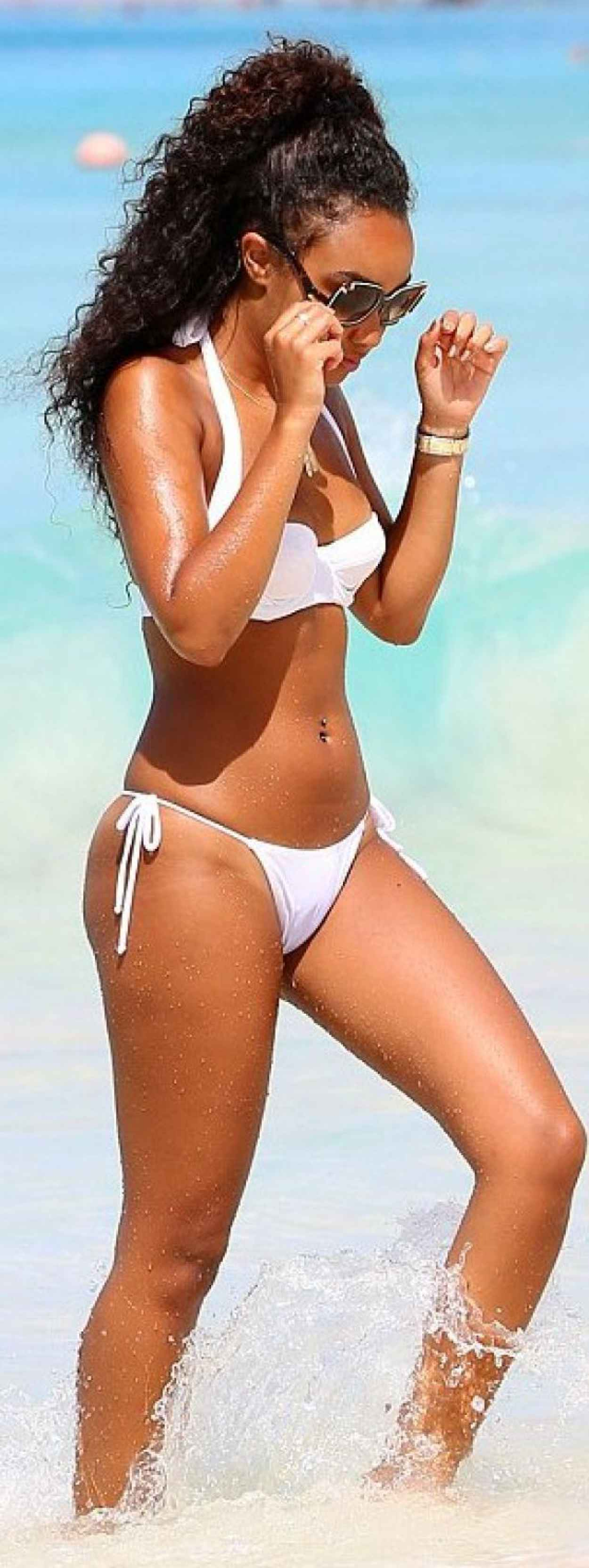 Leigh-Anne Pinnock in White Bikini in Barbados - January 2015-4