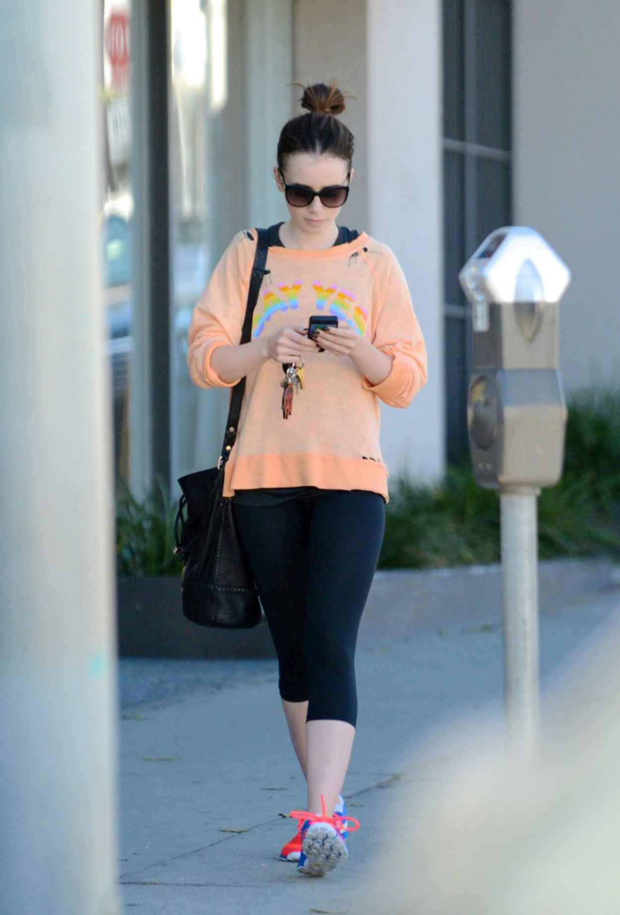 Lily Collins Street Style - Leaving the Gym in LA-1