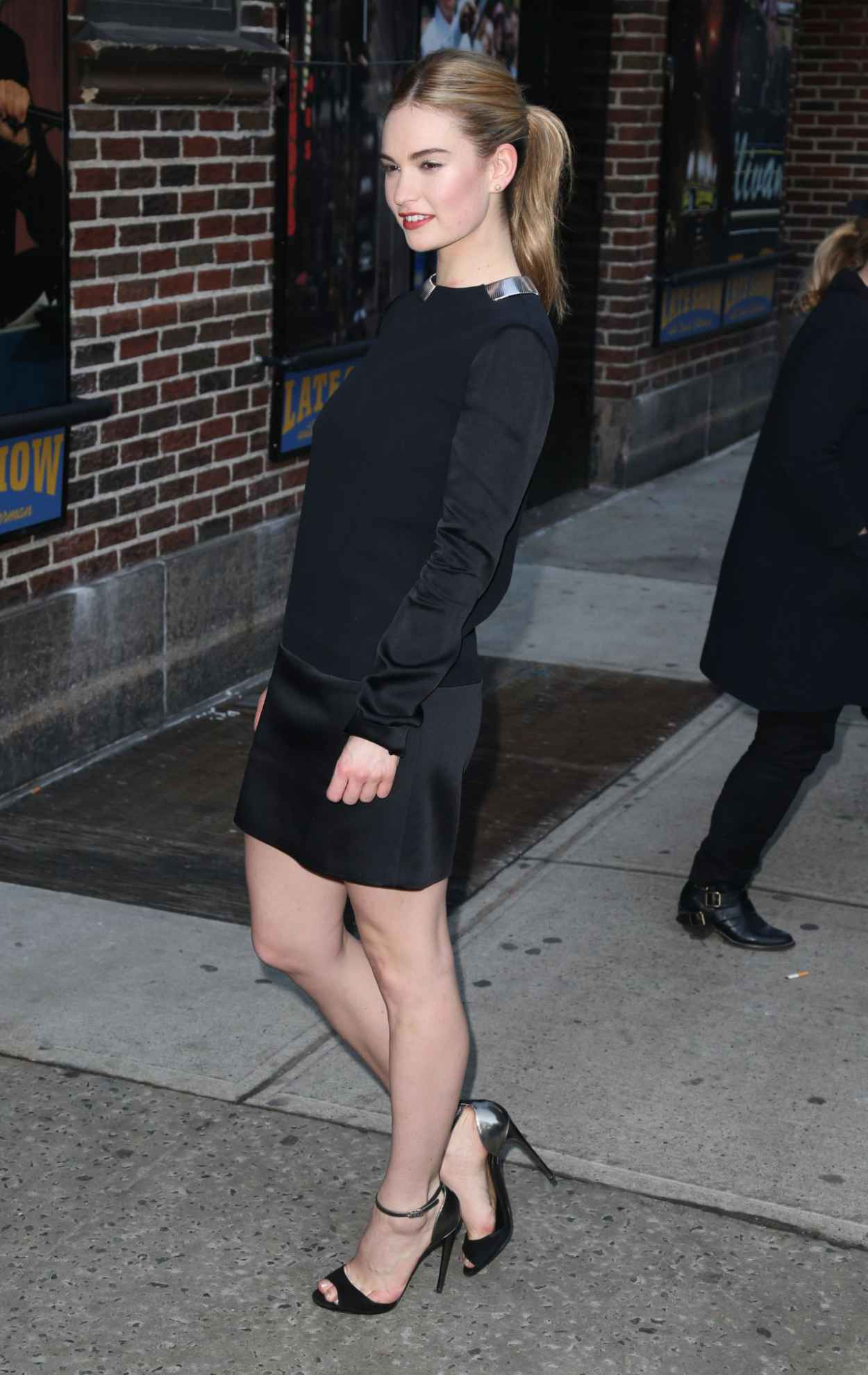 Lily James Arriving to Appear on Late Show With David Letterman in New York City, March 2015 ...