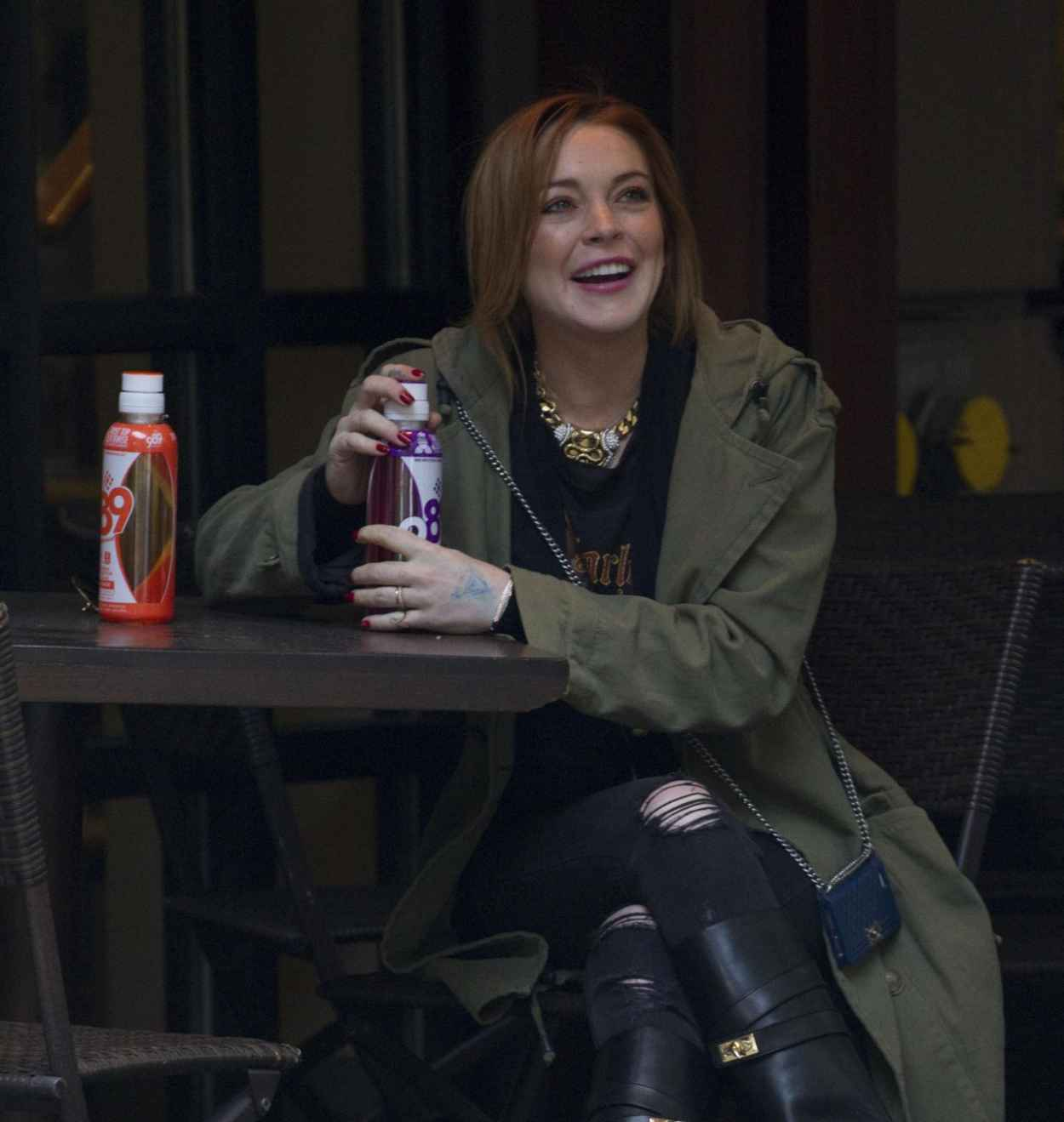 Lindsay Lohan Street Style - Sitting at a Hotel in New York City - February 2015-1