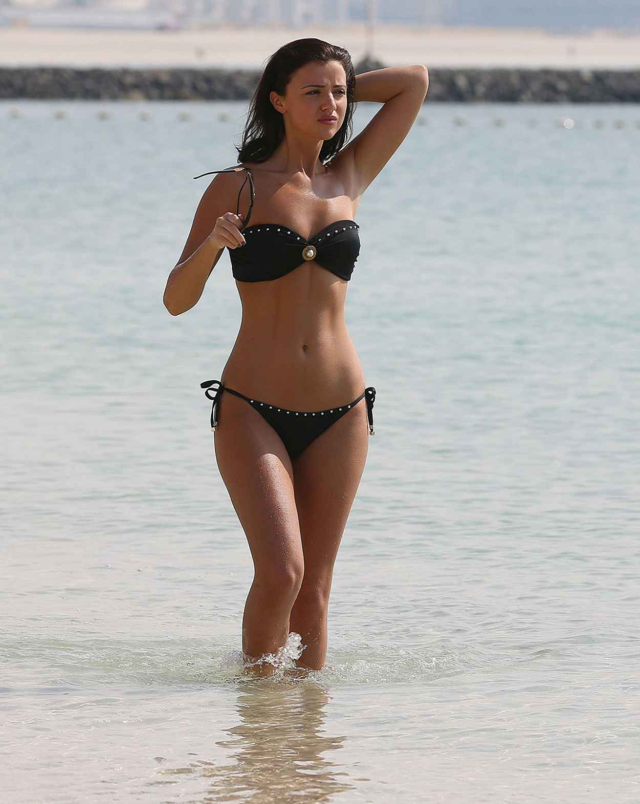 Lucy MecKlenburgh in Black Bikini - Dubai, January 2015-1