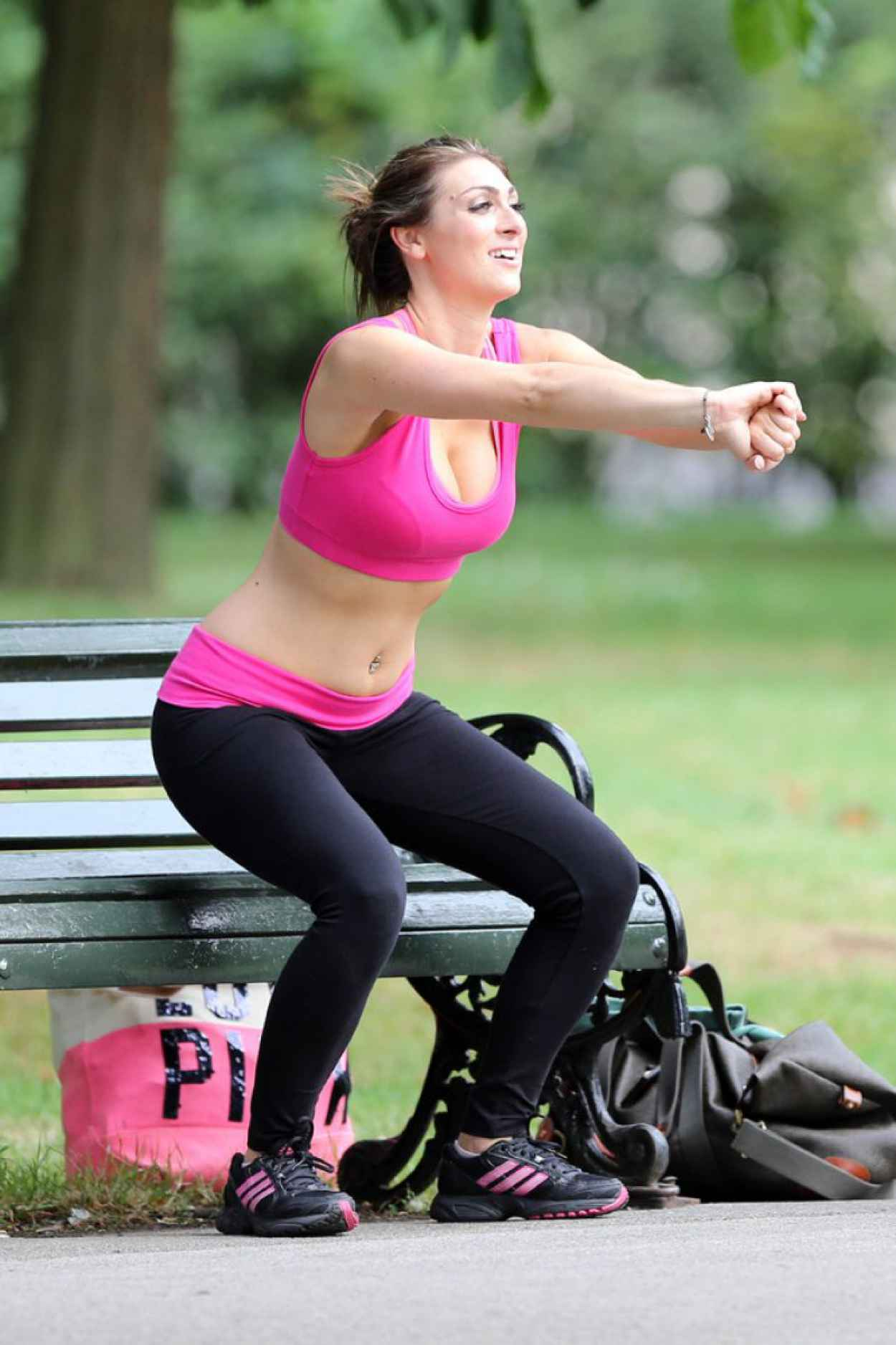 Luisa Zissman Spandex Photos - Working Out in a London Park - August 2015-1