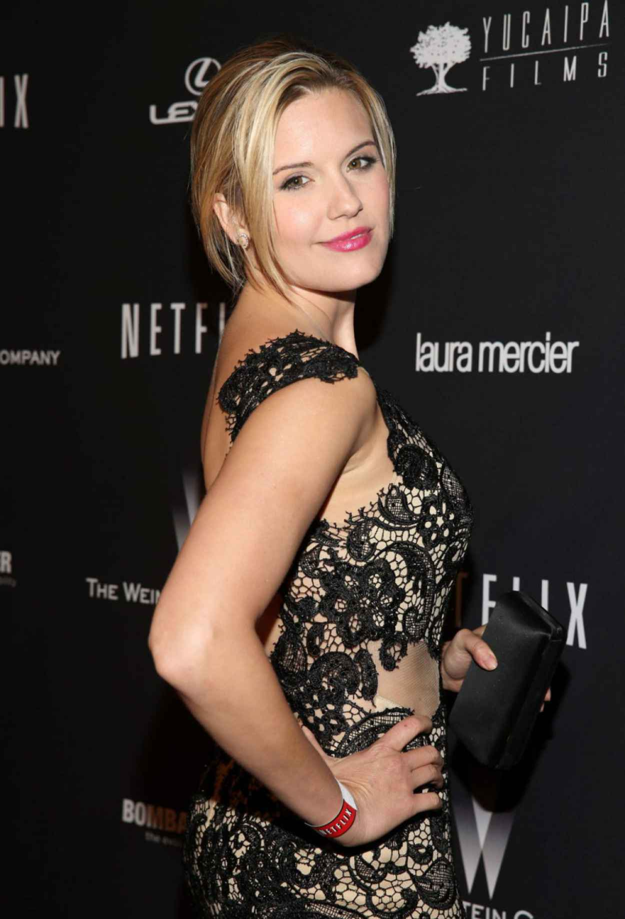 Maggie Grace Wears Mac Duggal at The Weinstein Company & Netflix 2015 Golden Globe After Party-1