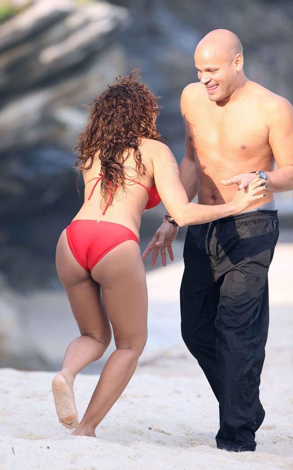 Melanie Mel B Brown in a Red Bikini - Beach in Sydney-3