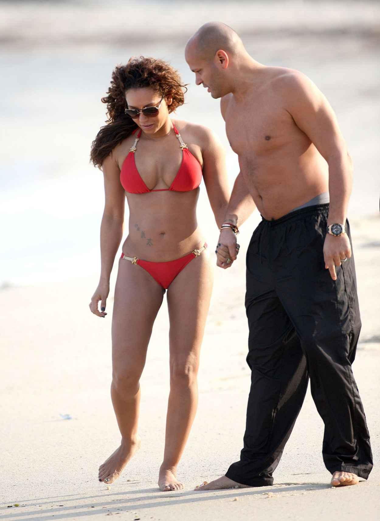 Melanie Mel B Brown in a Red Bikini - Beach in Sydney-5