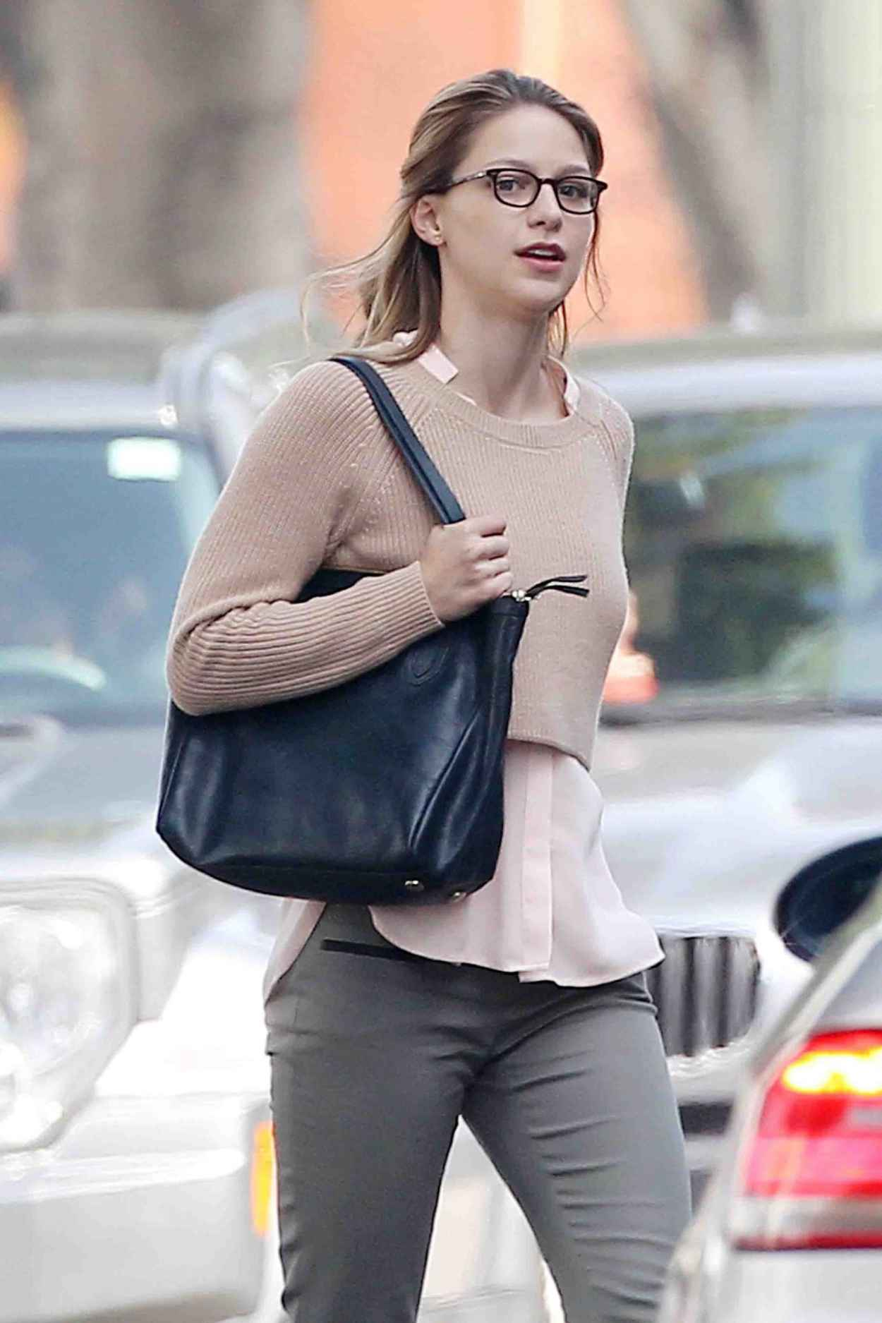 Melissa Benoist - On the Set of Supergirl in Los Angeles, March 2015-1