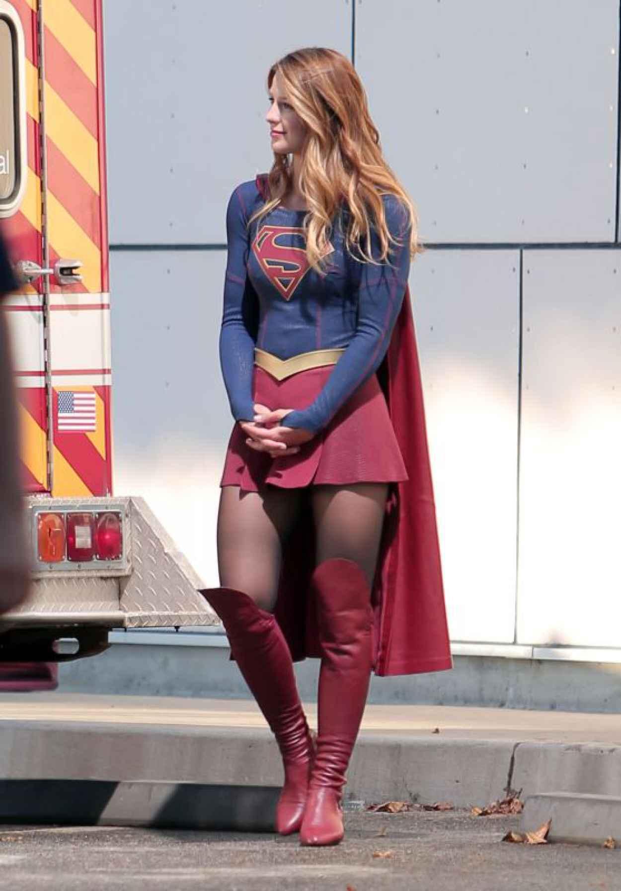 Melissa Benoist -Supergirl Set Photos in Los Angeles, July 2015-1