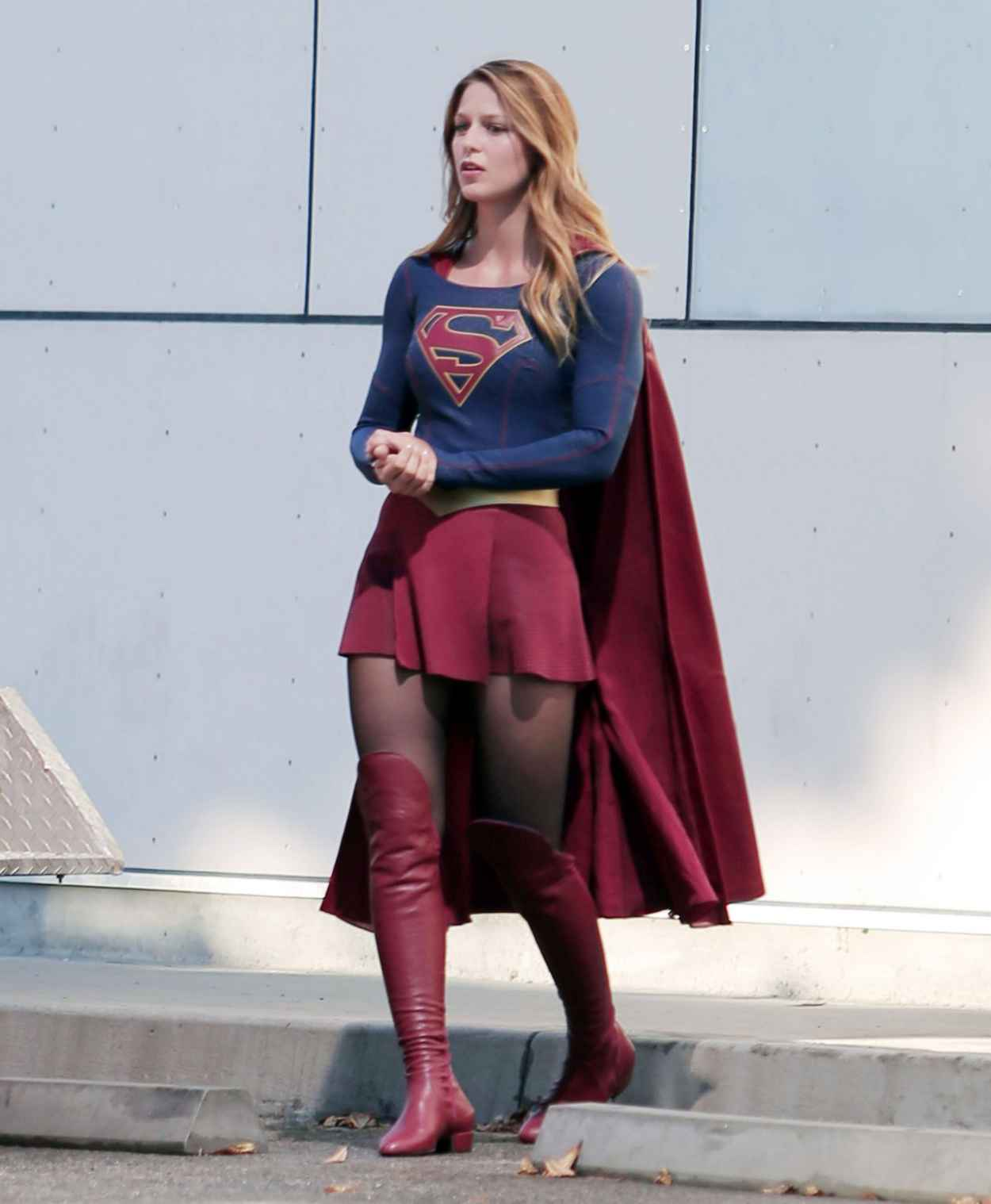 Melissa Benoist -Supergirl Set Photos in Los Angeles, July 2015-2