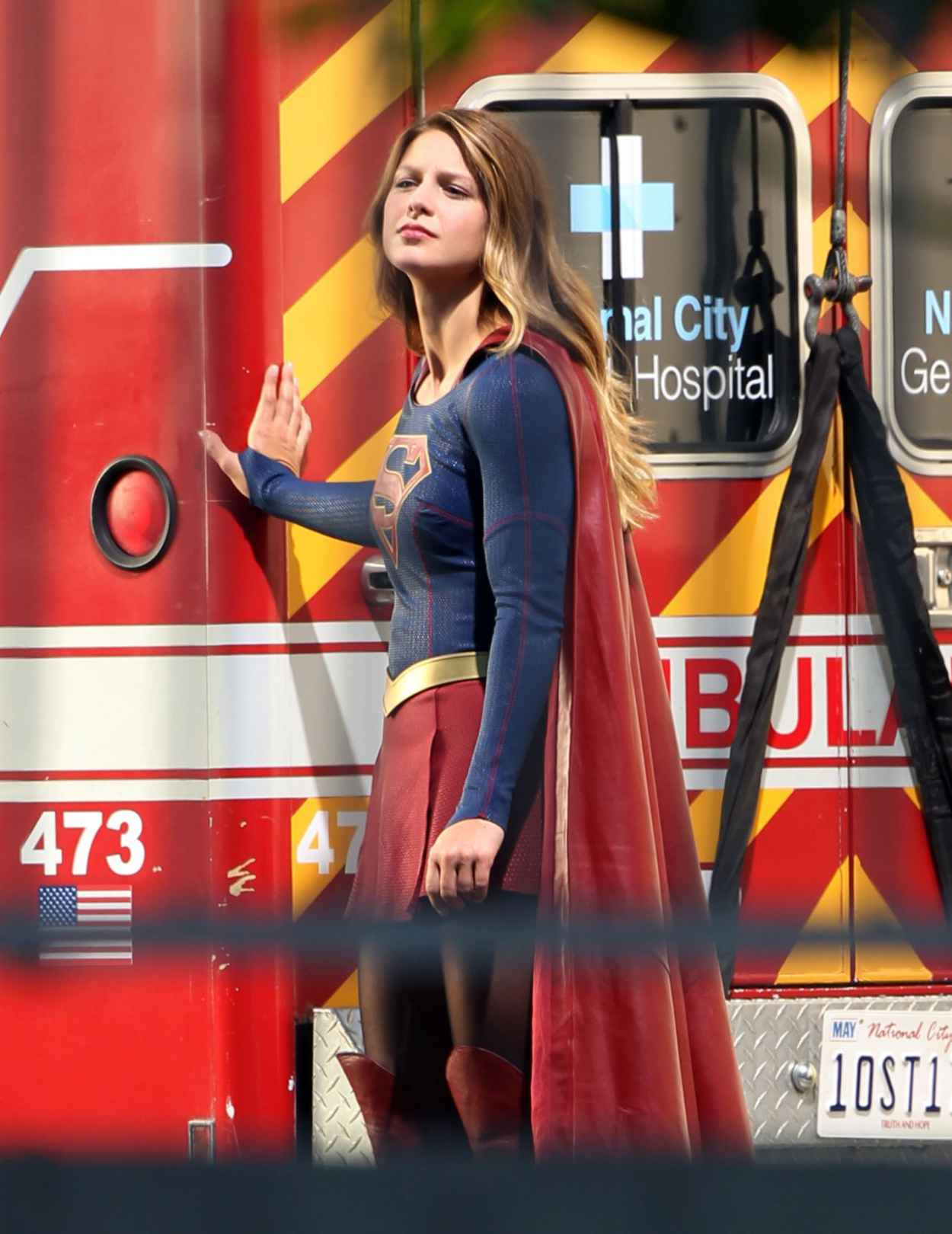 Melissa Benoist -Supergirl Set Photos in Los Angeles, July 2015-5