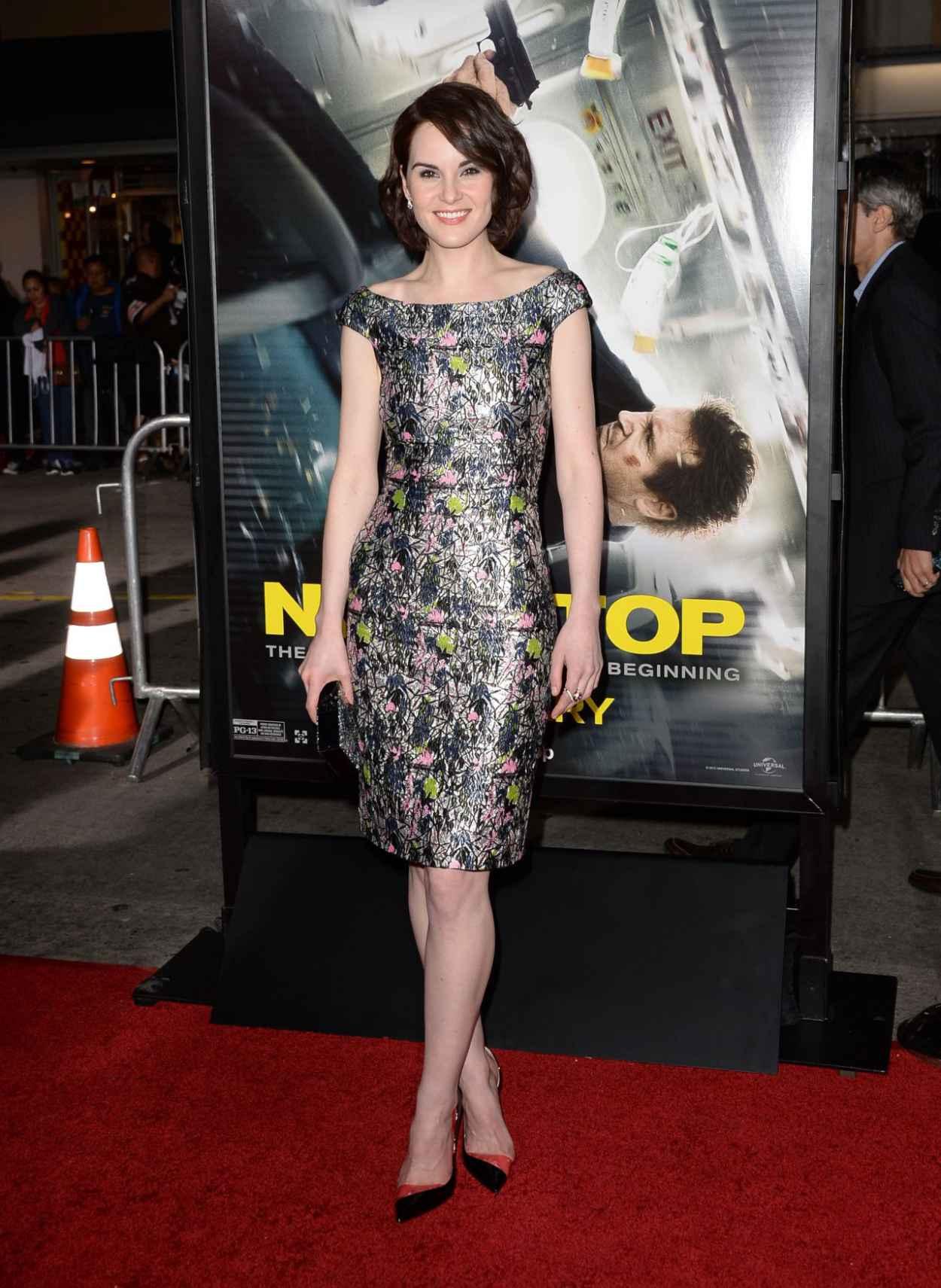 Michelle Dockery Wearing Christian Dior Lurex Dress - -Non-Stop- LA Premiere-2